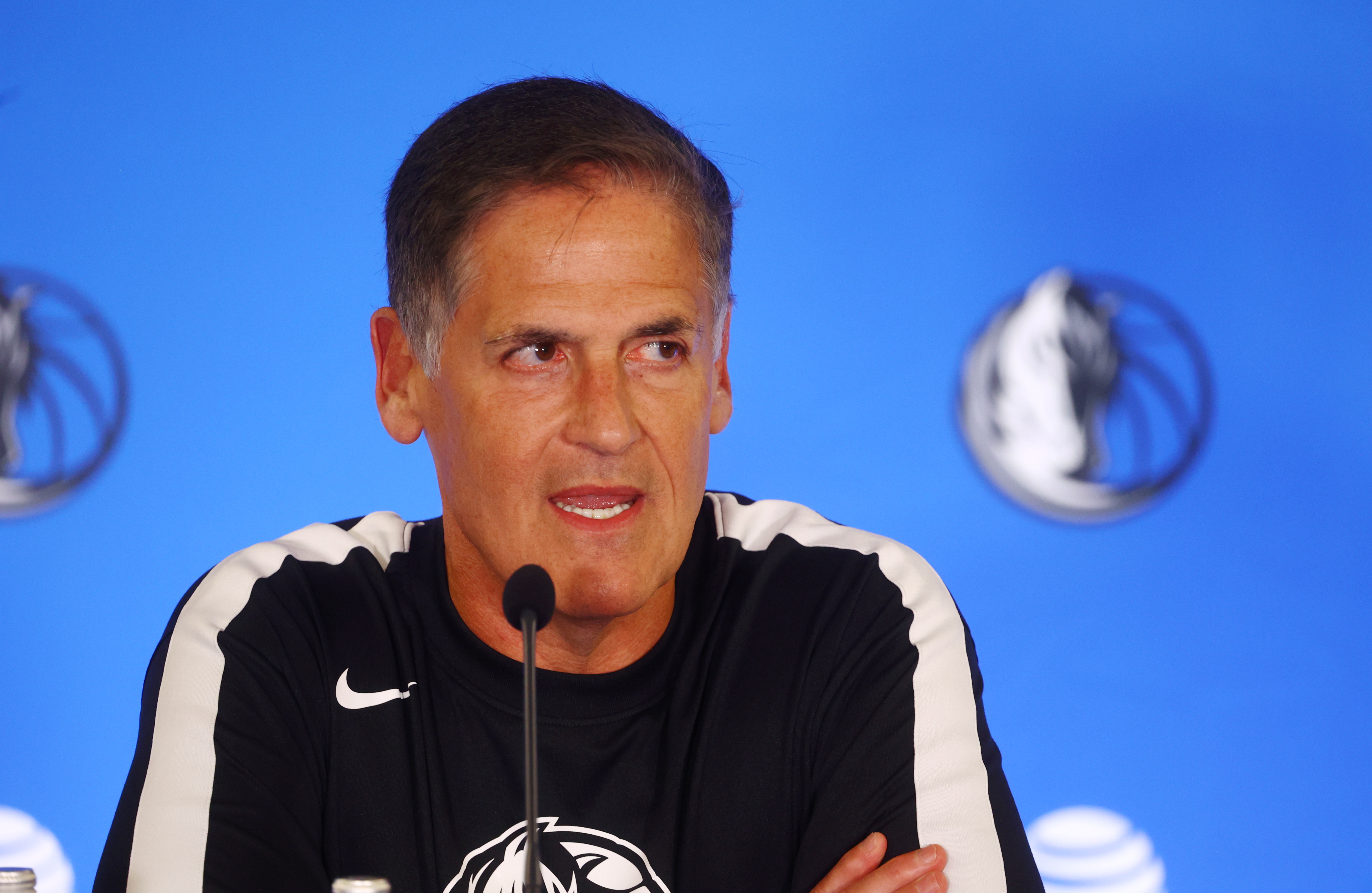 Basketball - Dallas Mavericks' Luka Doncic Press Conference - InterContinental hotel Slovenia, Ljubljana, Slovenia - August 10, 2021 Dallas Mavericks' owner Mark Cuban during the press conference after Luka Doncic signed a contract extension REUTERS/Borut Zivulovic/File Photo