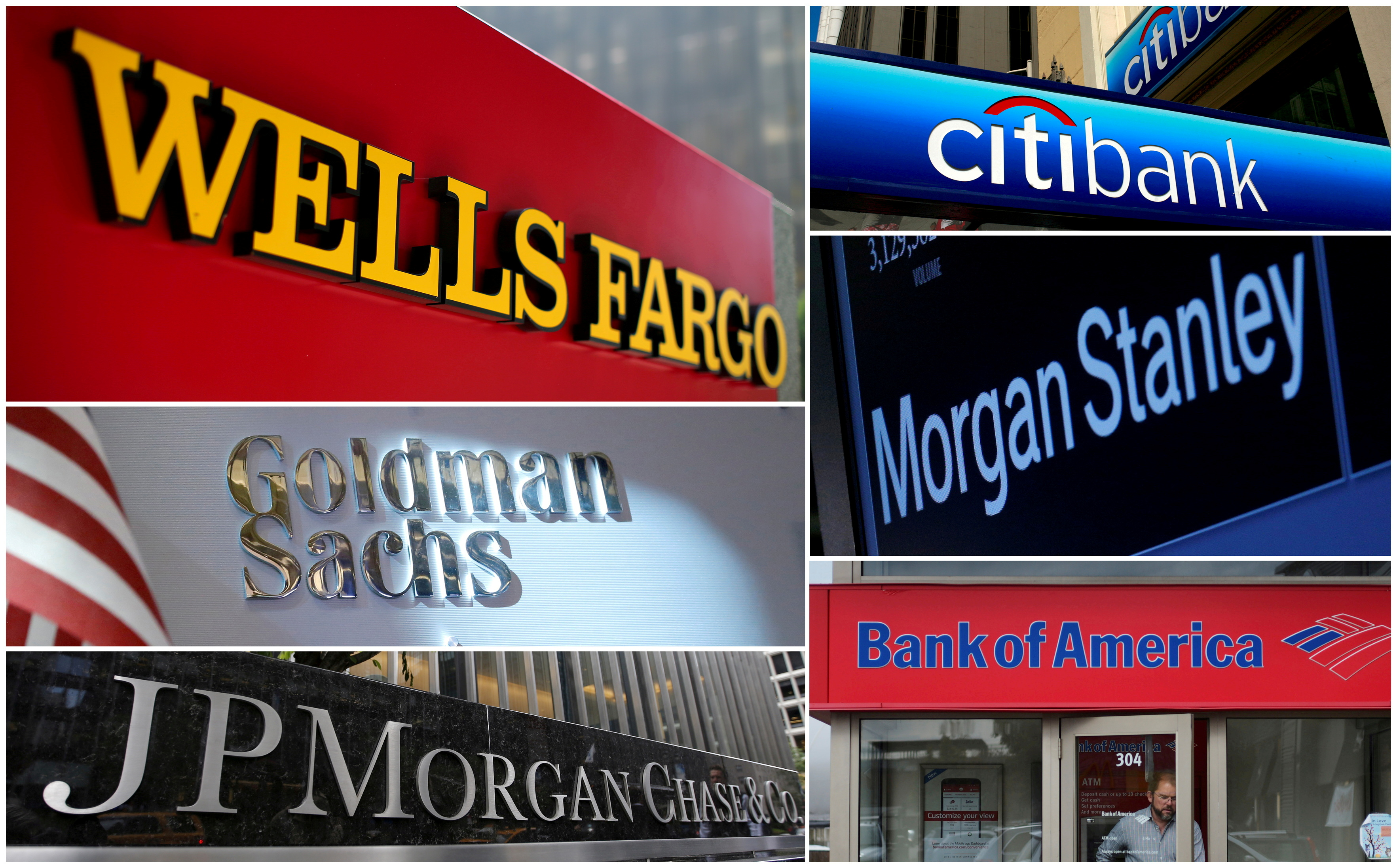 A combination file photo shows Wells Fargo, Citibank, Morgan Stanley, JPMorgan Chase, Bank of America and Goldman Sachs from Reuters archive. REUTERS/File Photo