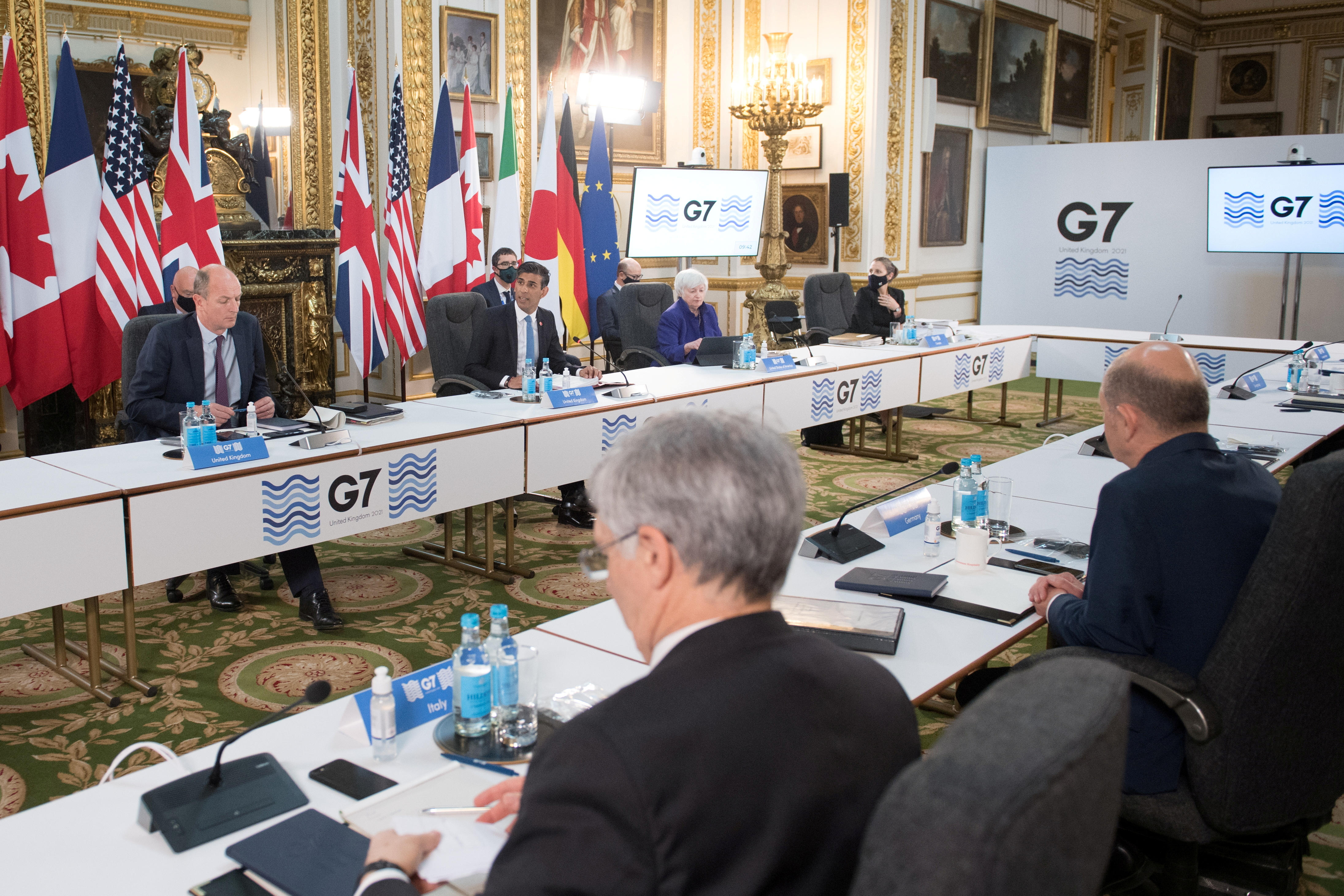 Britain's Chancellor of the Exchequer Rishi Sunak speaks at a meeting of finance ministers from across the G7 nations ahead of the G7 leaders' summit, at Lancaster House in London, Britain June 4, 2021. Stefan Rousseau