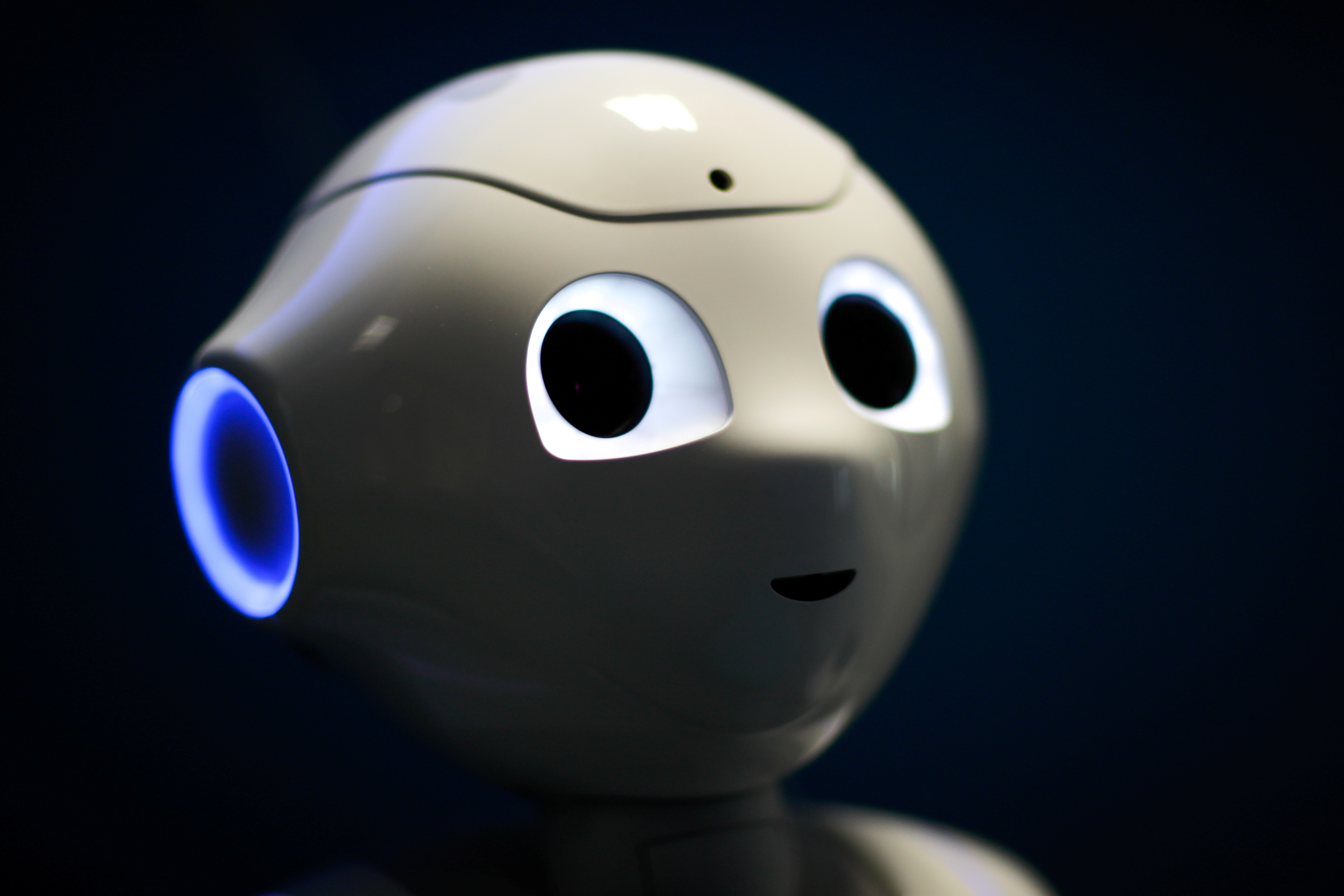 French robot Pepper, detecting whether people are wearing face masks and if not, instructs them to wear them, is displayed at French robotics developer SoftBank Robotics in Paris as the coronavirus disease (COVID-19) continues to spread out across France, September 8, 2020. REUTERS/Gonzalo Fuentes/File Photo