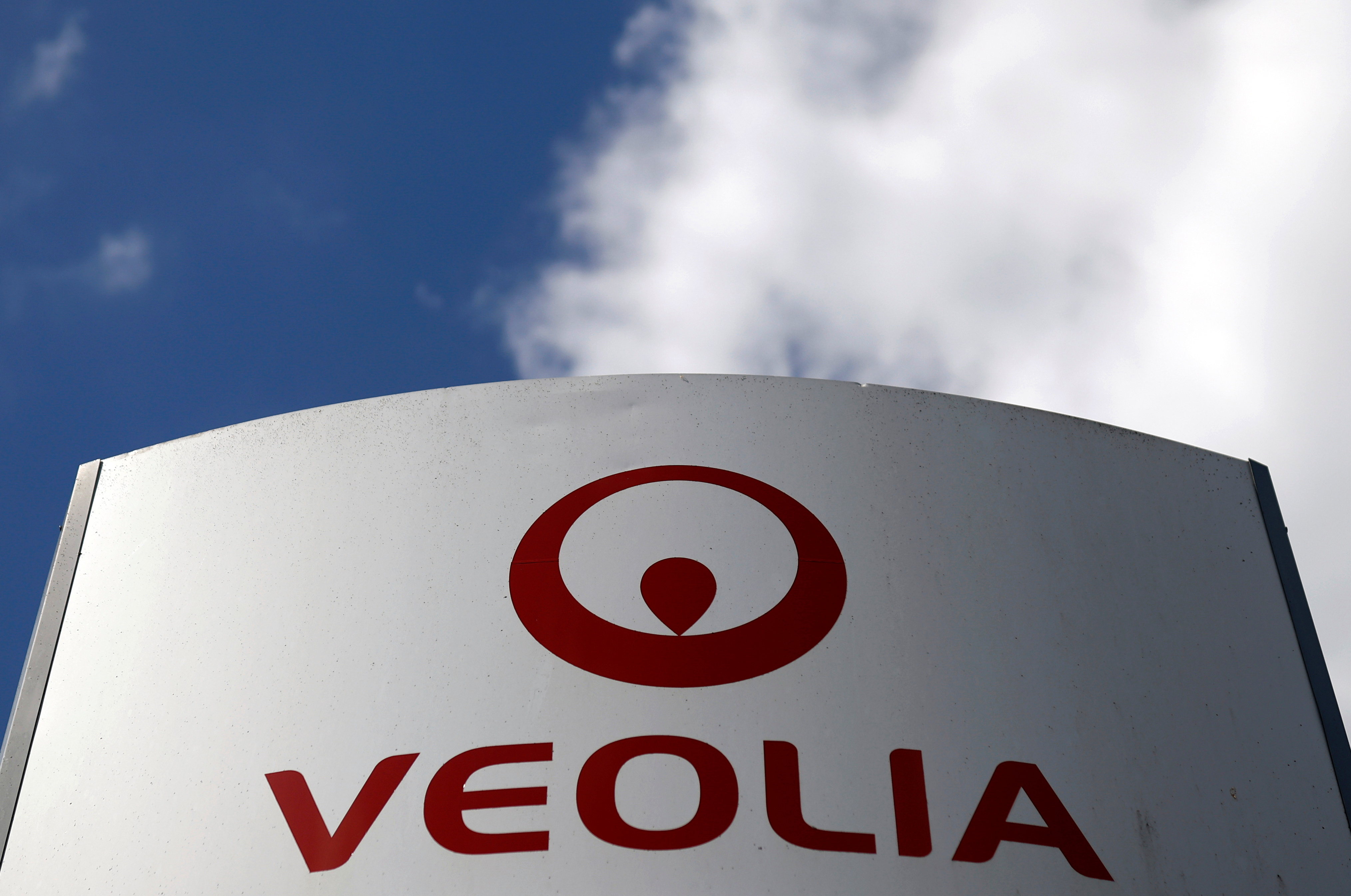 The logo of Veolia is seen in Saint-Herblain near Nantes, France, April 12, 2021. REUTERS/Stephane Mahe