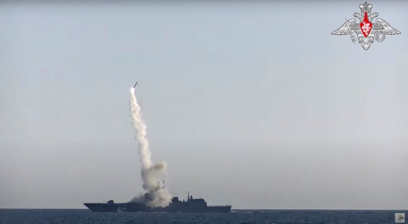 A Tsirkon (Zircon) hypersonic cruise missile is fired from the guided missile frigate Admiral Gorshkov in the White Sea in this still image taken from video released July 19, 2019.  Russian Defence Ministry/Handout via REUTERS