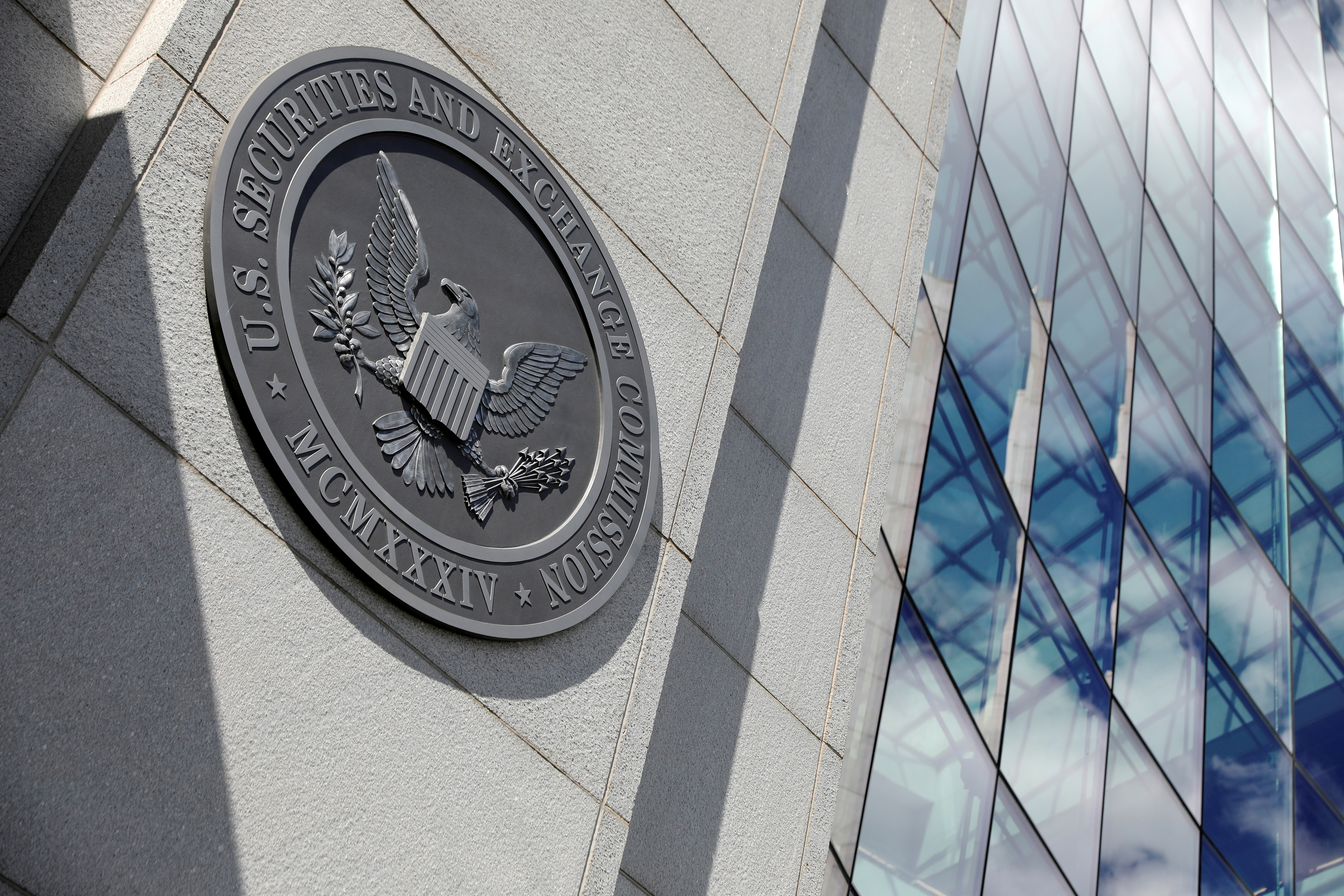 The seal of the U.S. Securities and Exchange Commission (SEC) is seen at their  headquarters in Washington, D.C., U.S., May 12, 2021. REUTERS/Andrew Kelly/File Photo