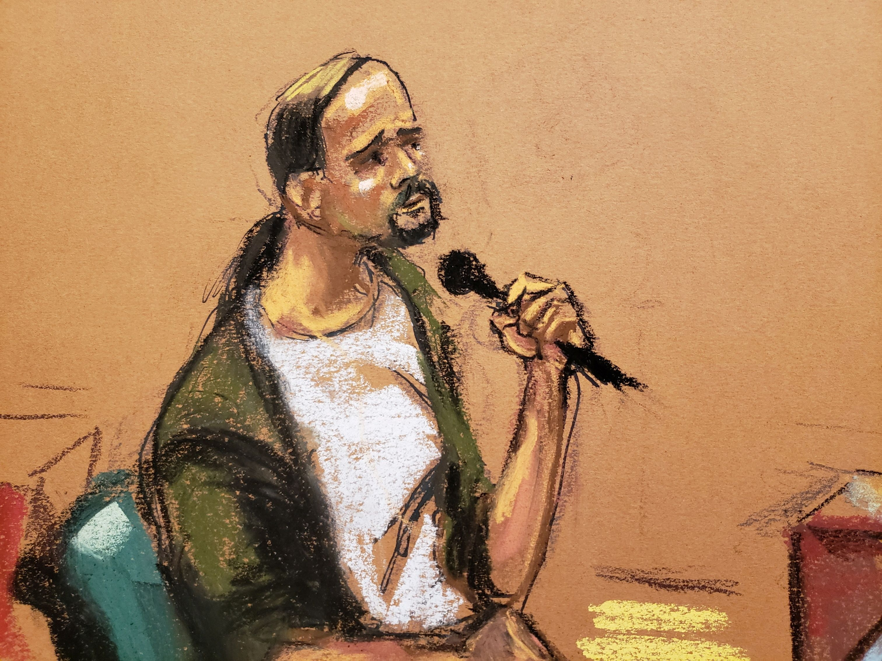 Jeffrey Meeks testifies for the defense during R. Kelly's sex abuse trial at Brooklyn's Federal District Court in a courtroom sketch in New York, U.S., September 21, 2021. REUTERS/Jane Rosenberg