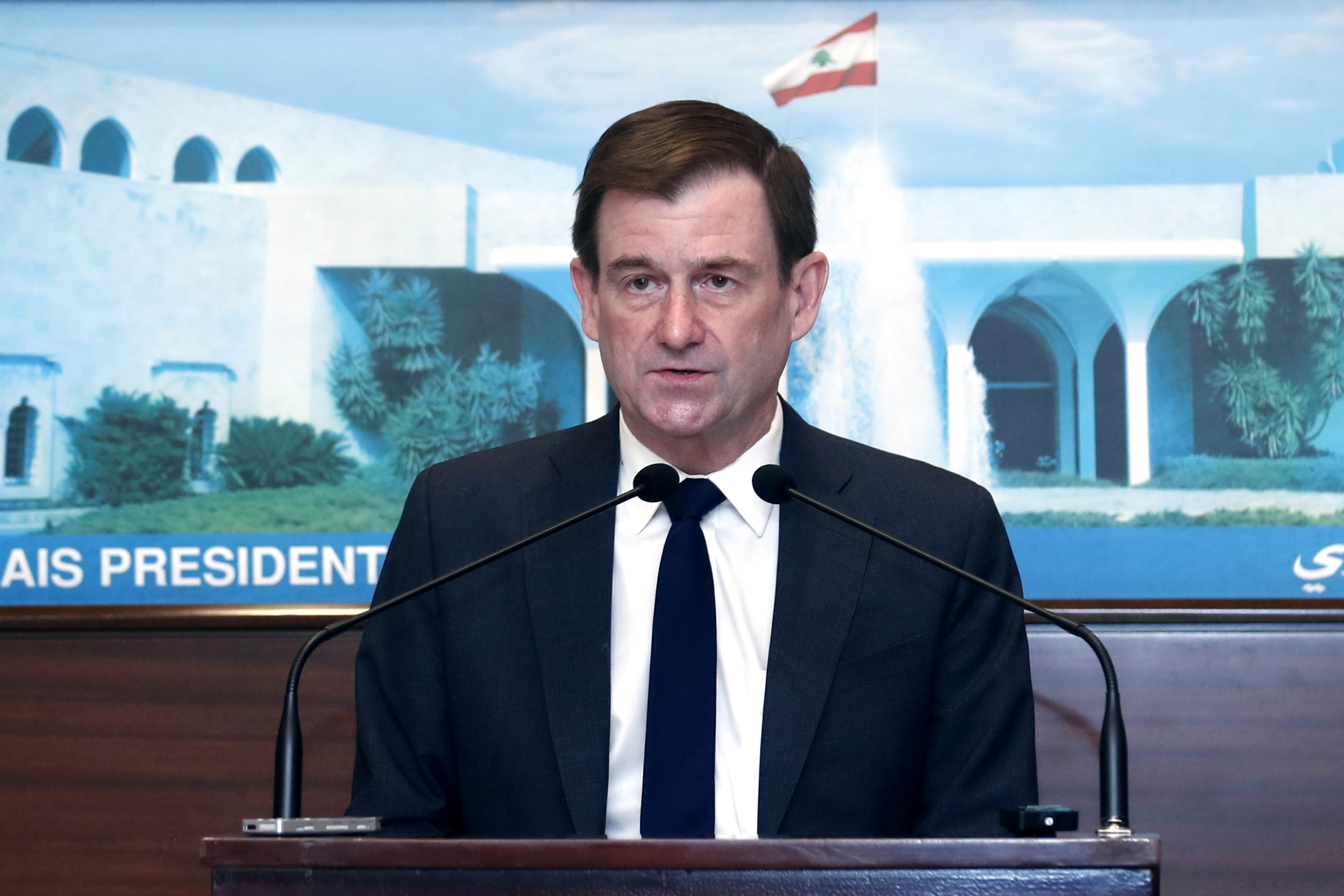 U.S. Under Secretary of State for Political Affairs David Hale speaks after meeting with Lebanon's President Michel Aoun at the presidential palace in Baabda, Lebanon April 15, 2021. Dalati Nohra/Handout via REUTERS