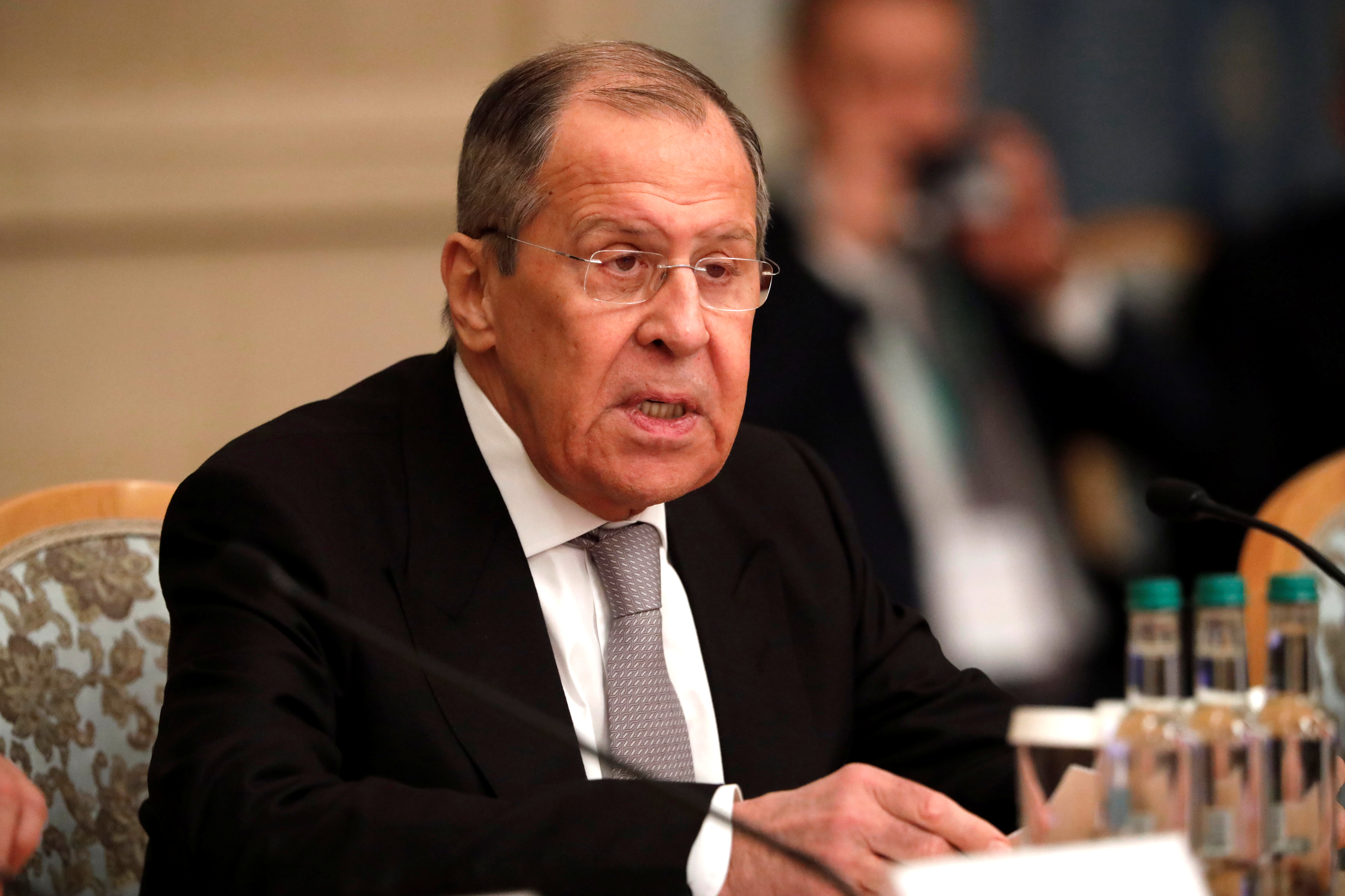 Russia's Foreign Minister Sergei Lavrov delivers a speech at the Afghan peace conference in Moscow, Russia March 18, 2021. Alexander Zemlianichenko/Pool via REUTERS