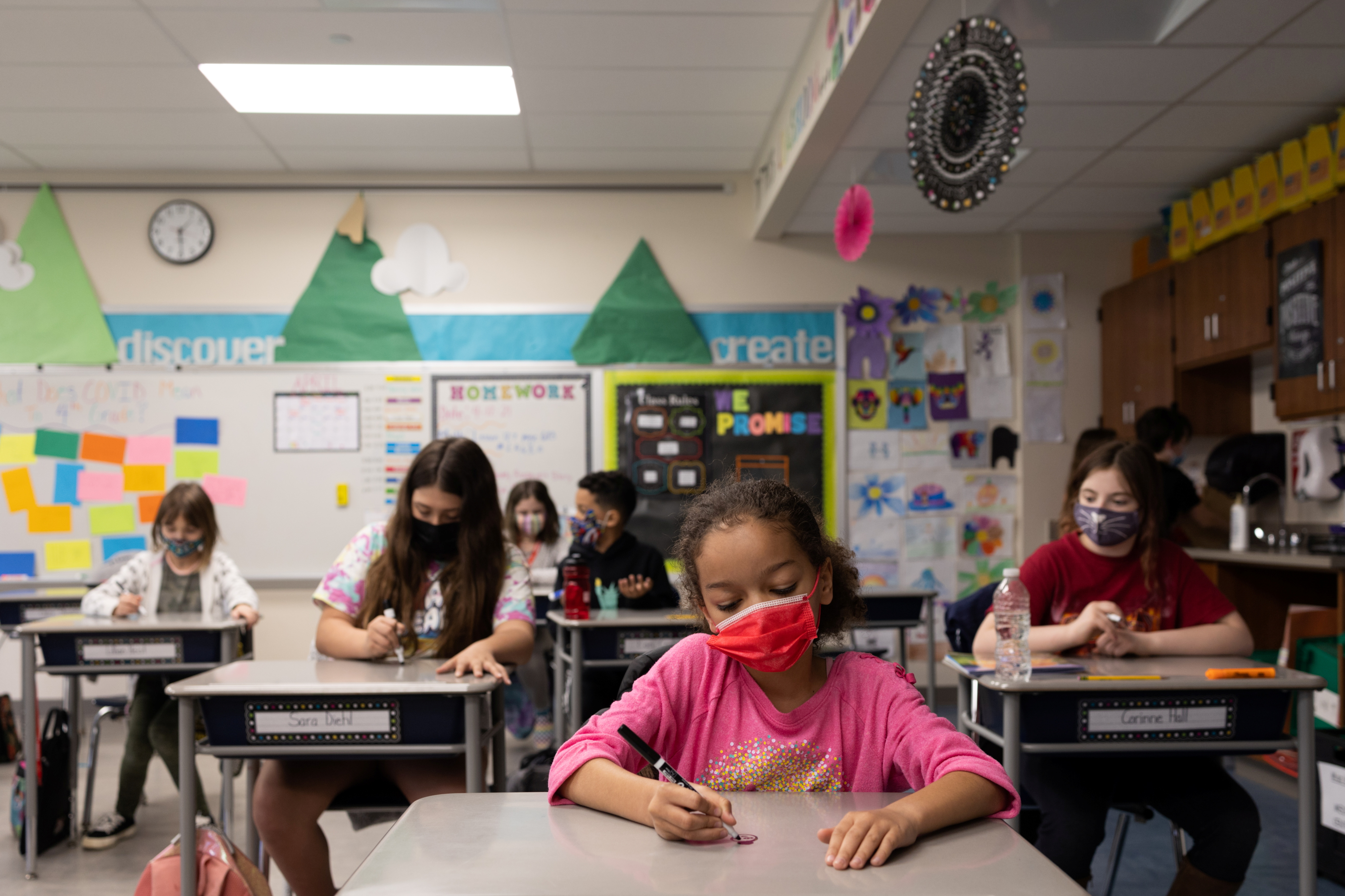 Samantha Wiik's fourth grade class does an activity comparing the positive outcomes of the coronavirus disease (COVID-19) to their word of the week,
