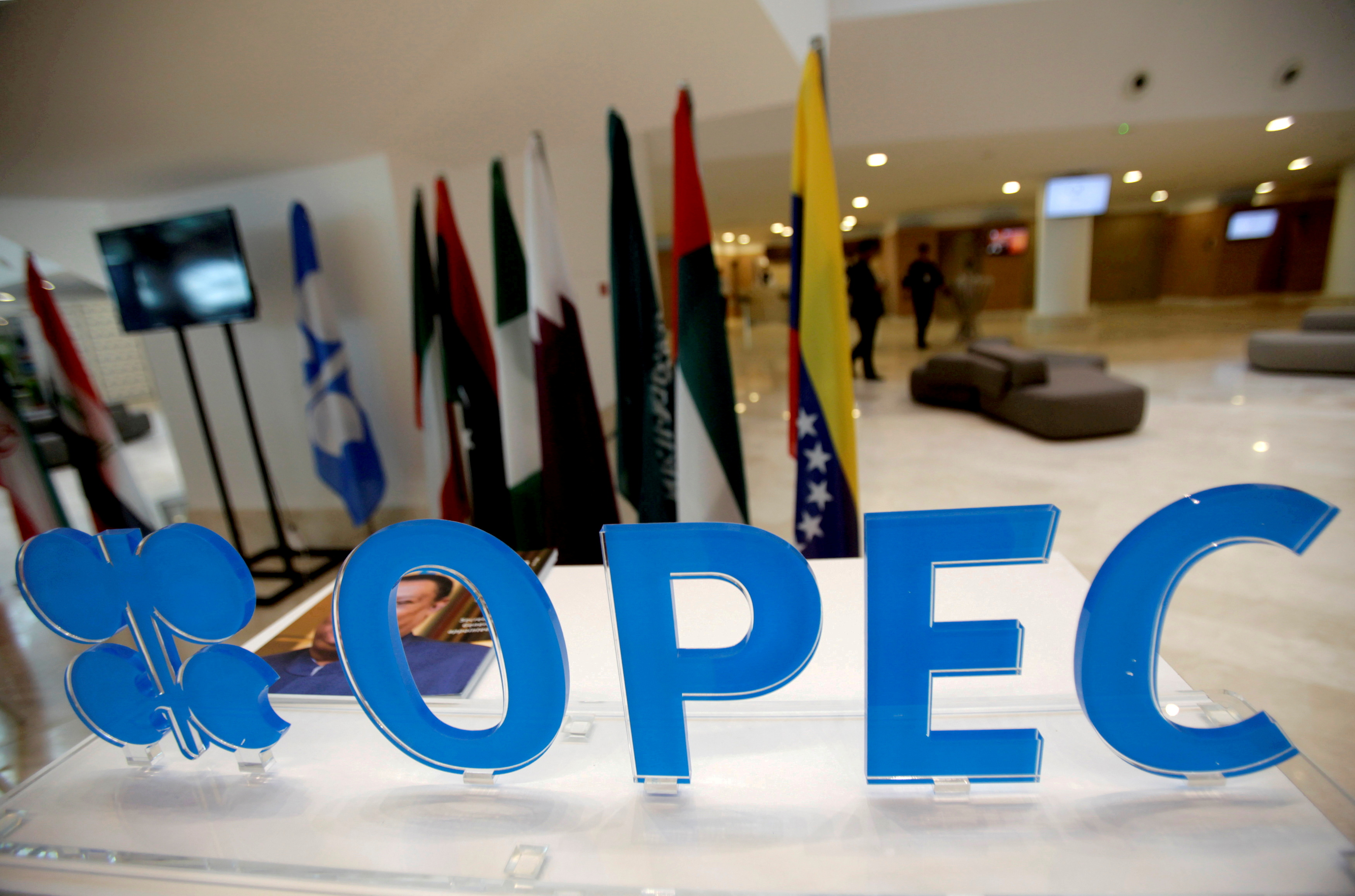The OPEC logo pictured ahead of an informal meeting between members of the Organization of the Petroleum Exporting Countries (OPEC) in Algiers, Algeria, September 28, 2016. REUTERS/Ramzi Boudina