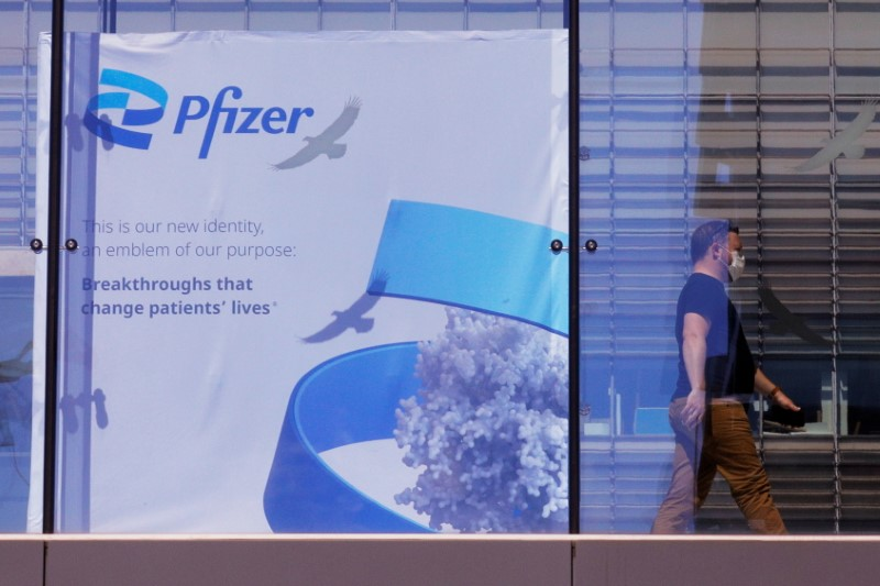 A sign marks the Pfizer facility in Cambridge, Massachusetts, U.S., June 16, 2021.   REUTERS/Brian Snyder