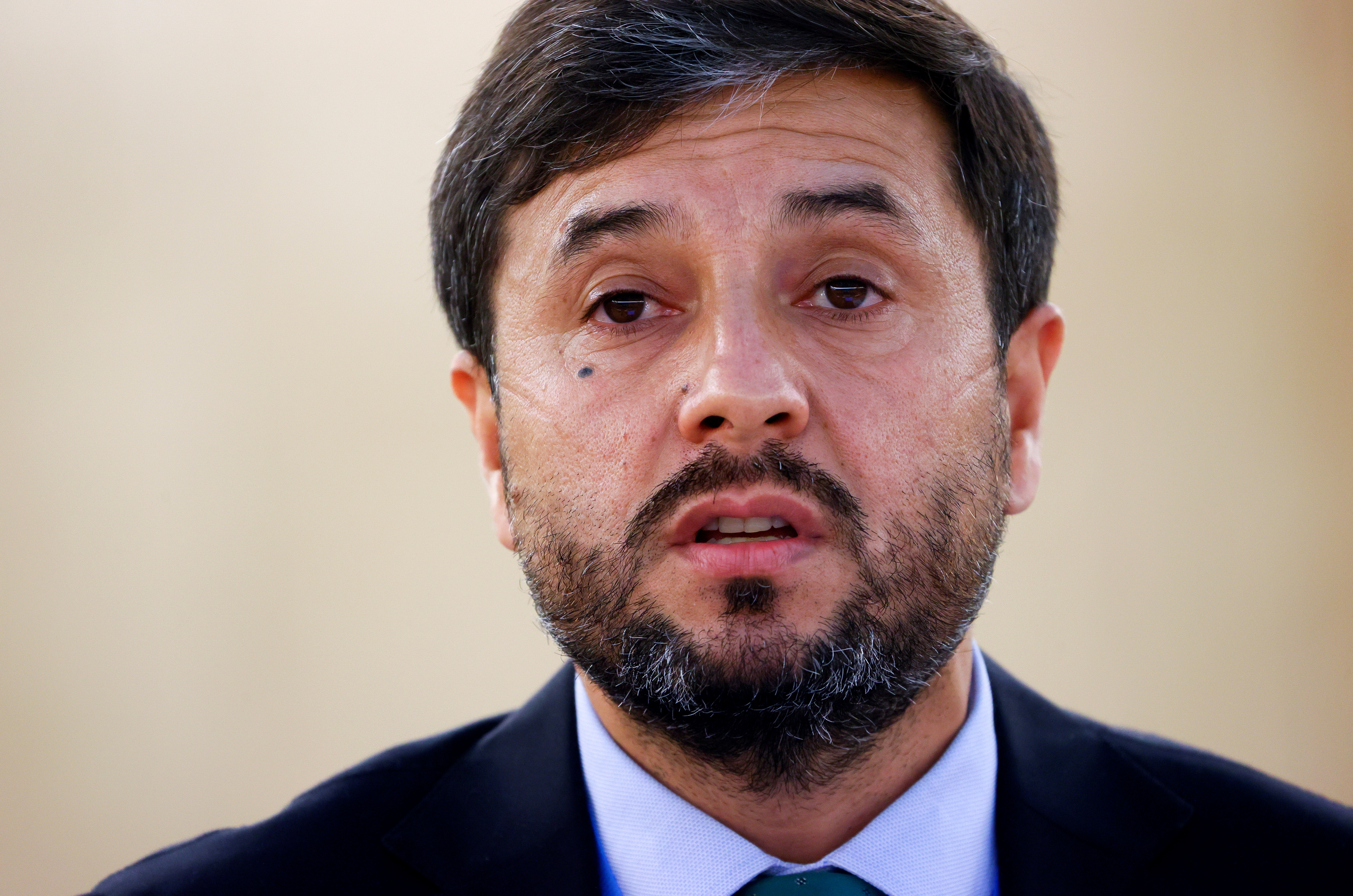 Afghanistan Ambassador Nasir Ahmad Andisha speaks during a special session of the Human Rights Council on the situation in Afghanistan, at the European headquarters of the United Nations in Geneva, Switzerland, August 24, 2021. REUTERS/Denis Balibouse