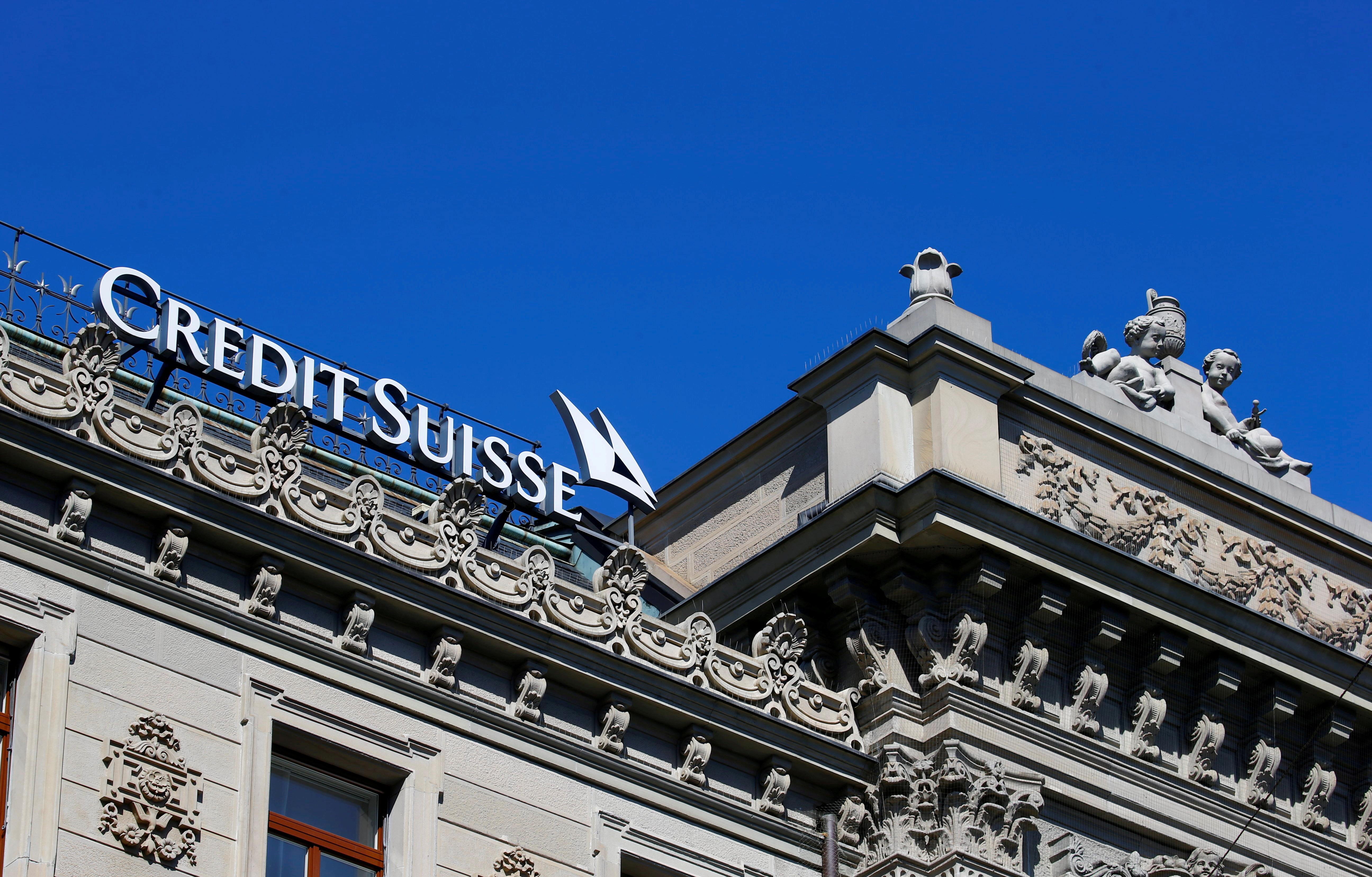 The logo of Swiss bank Credit Suisse is seen at its headquarters in Zurich, Switzerland March 24, 2021.   REUTERS/Arnd Wiegmann