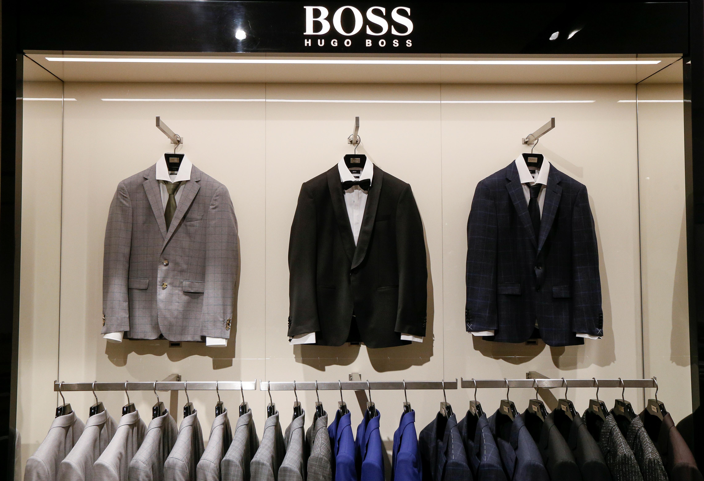 Hugo Boss jackets are seen in Kiev, Ukraine, May 17, 2017. REUTERS/Valentyn Ogirenko
