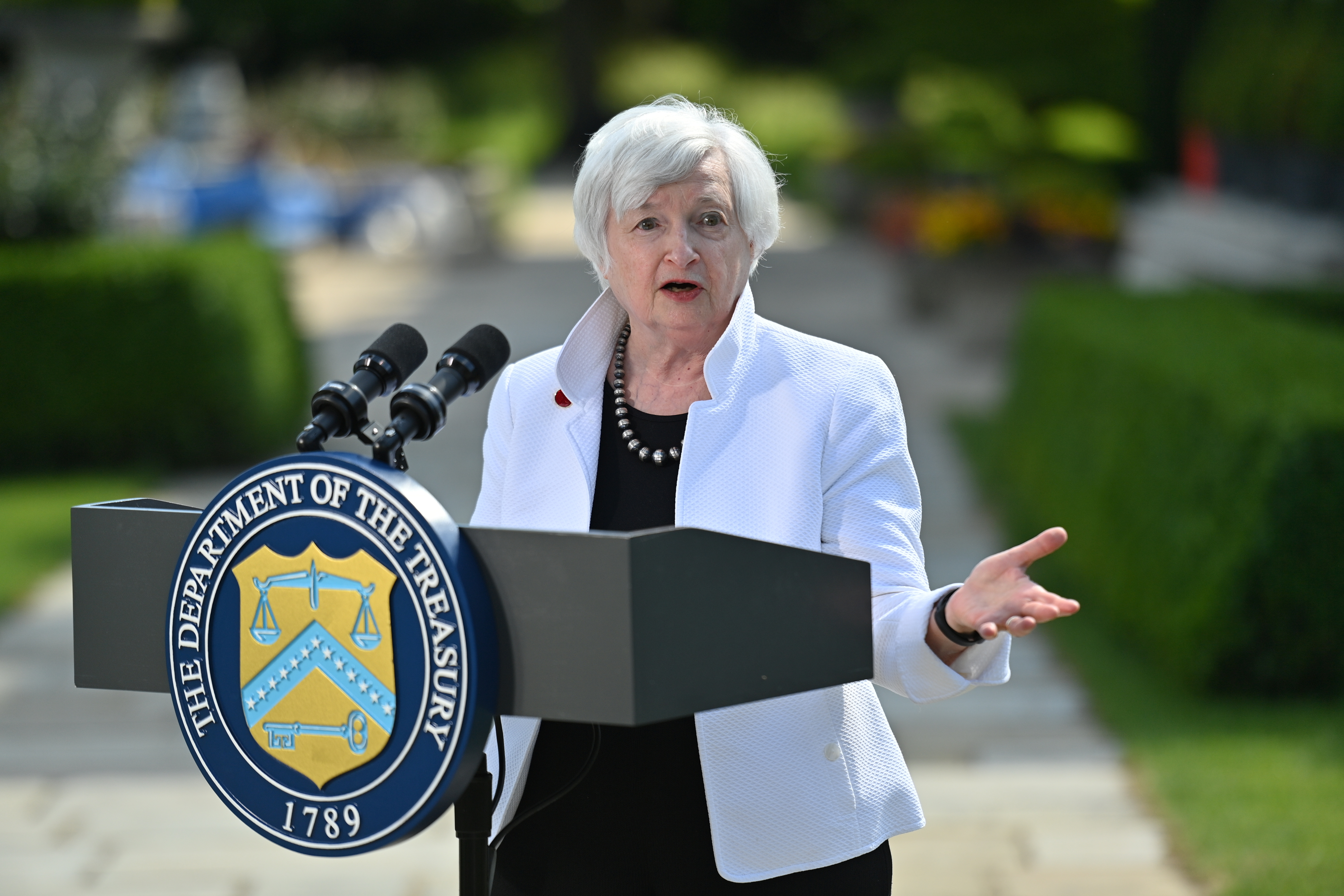 U.S. Treasury Secretary Janet Yellen speaks during a news conference, after attending the G7 finance ministers meeting, at Winfield House in London, Britain June 5, 2021. Justin Tallis/Pool via REUTERS