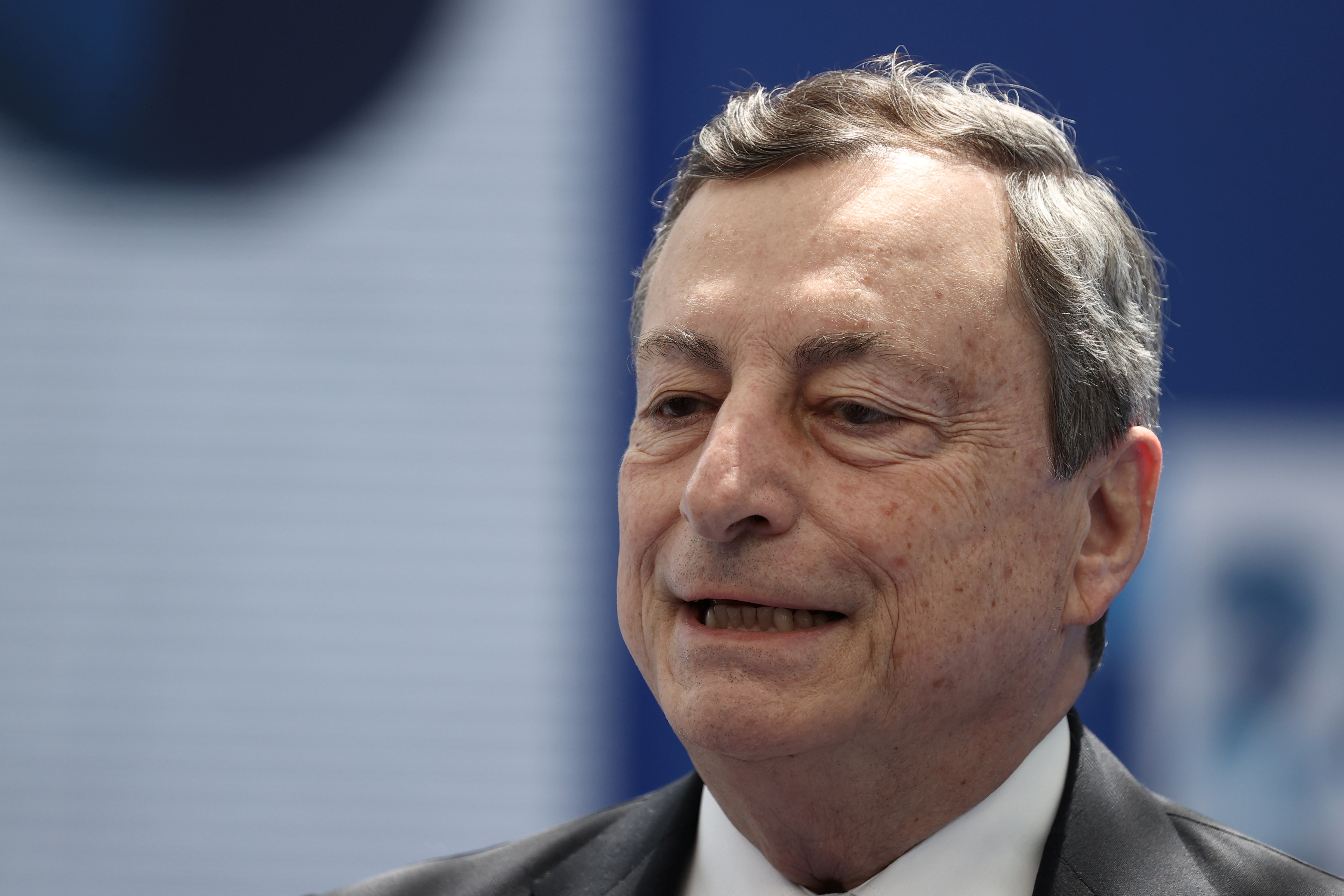 Italian Prime Minister Mario Draghi arrives for the NATO summit at the Alliance's headquarters, in Brussels, Belgium, June 14, 2021. Kenzo Tribouillard/Pool via REUTERS