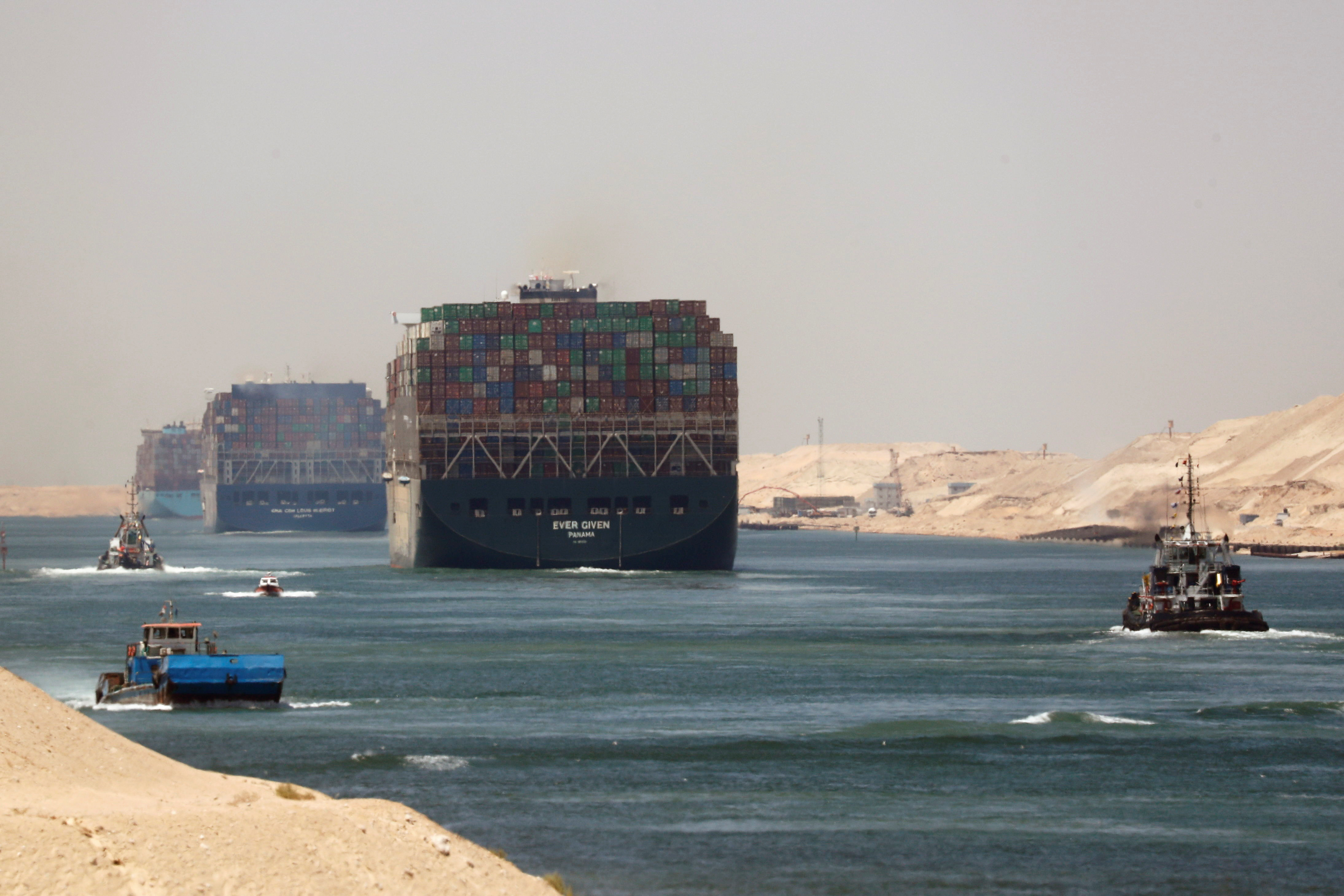 Ever Given, one of the world's largest container ships, sets sail to leave through Suez Canal after the canal authority reached a settlement with the vessel's owner and insurers, in Ismailia, Egypt, July 7, 2021. REUTERS/Amr Abdallah Dalsh