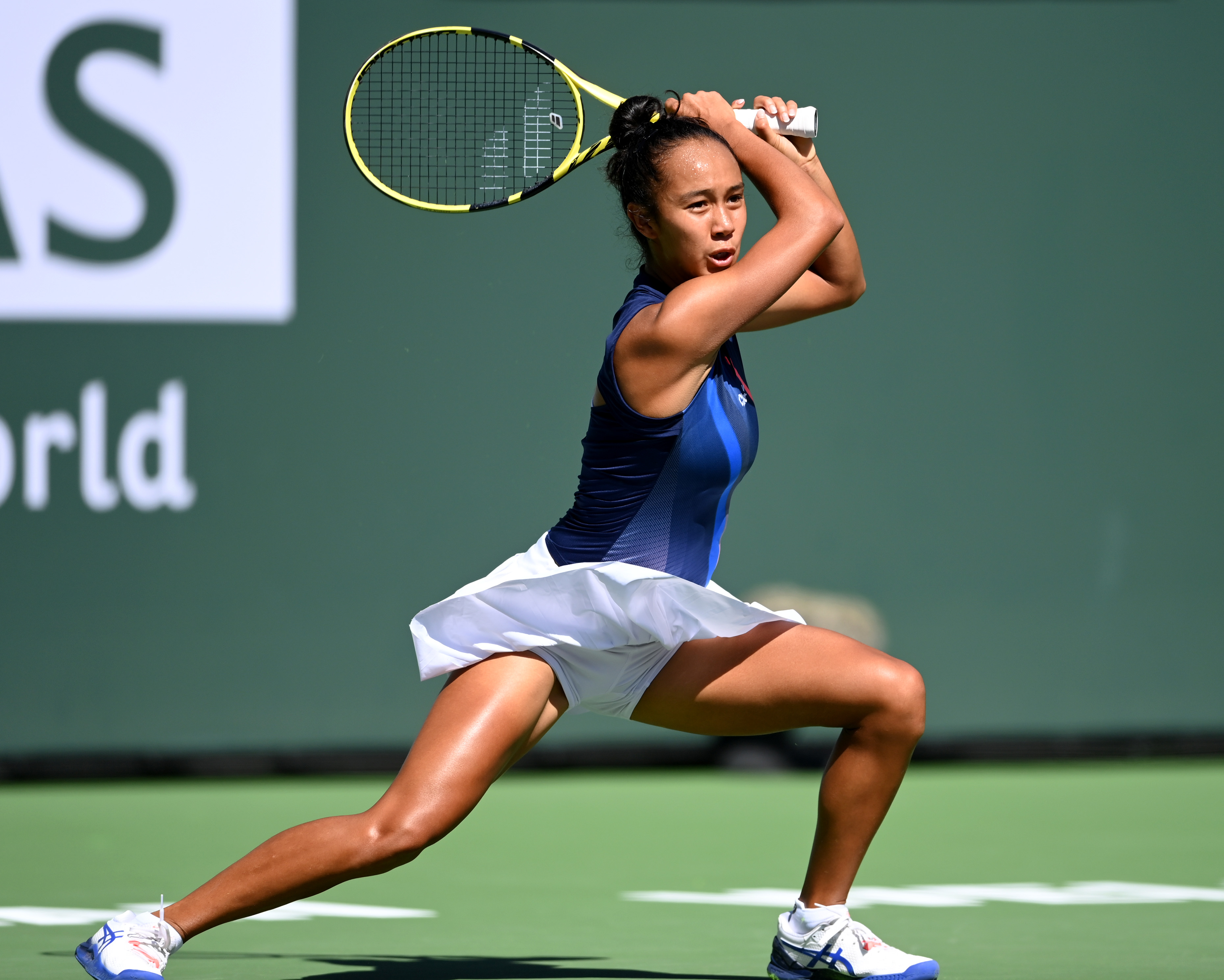 Oct 12, 2021; Indian Wells, CA, USA; Leyla Fernandez (CAN) hits a shot against Shelby Rogers (USA) during a fourth round match in the BNP Paribas Open at the Indian Wells Tennis Garden. Mandatory Credit: Jayne Kamin-Oncea-USA TODAY Sports