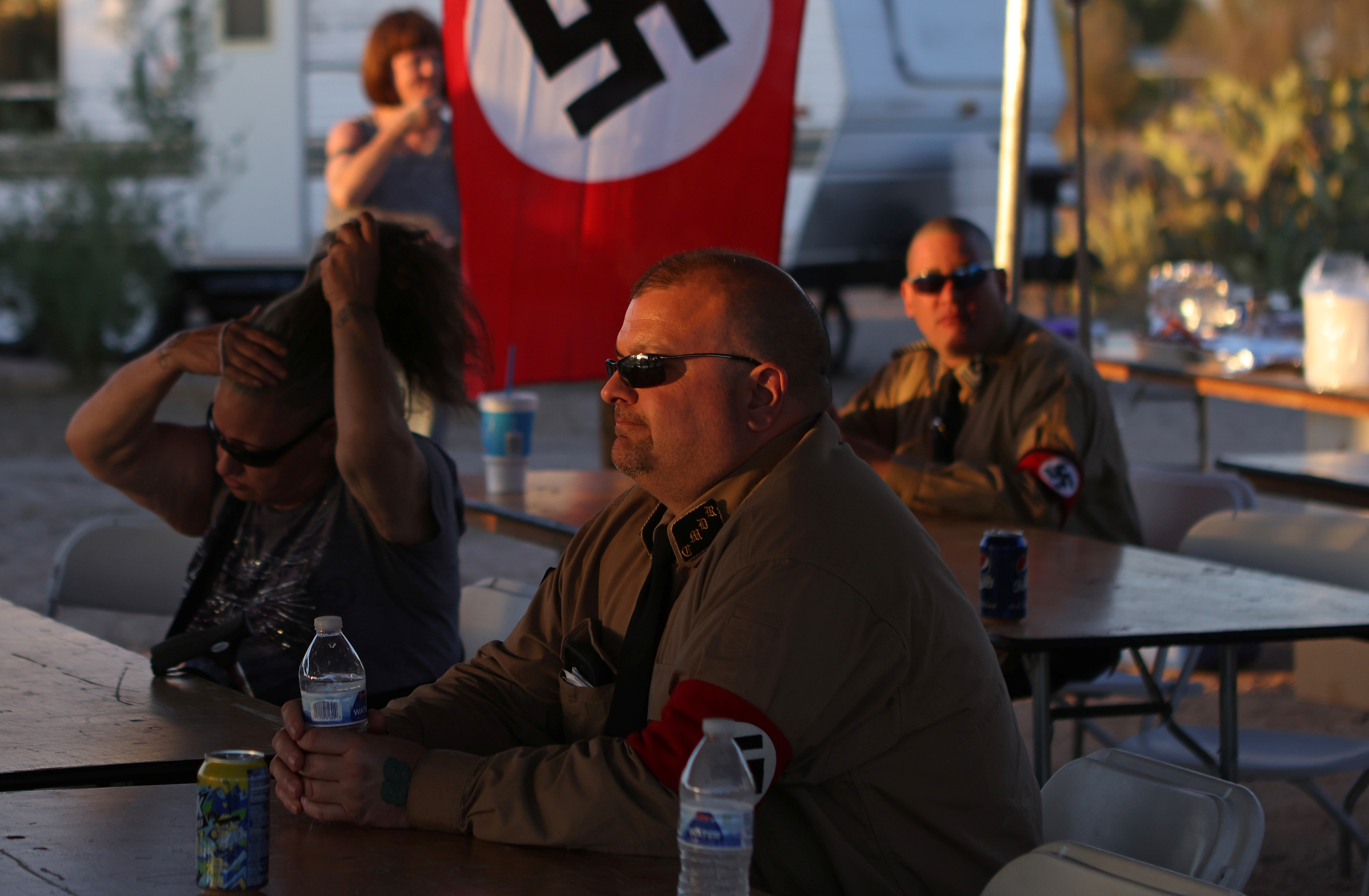 Burt Colucci of the white nationalist group National Socialist Movement attends a rally in Maricopa, Arizona, U.S., April 16, 2021. REUTERS/Jim Urquhart