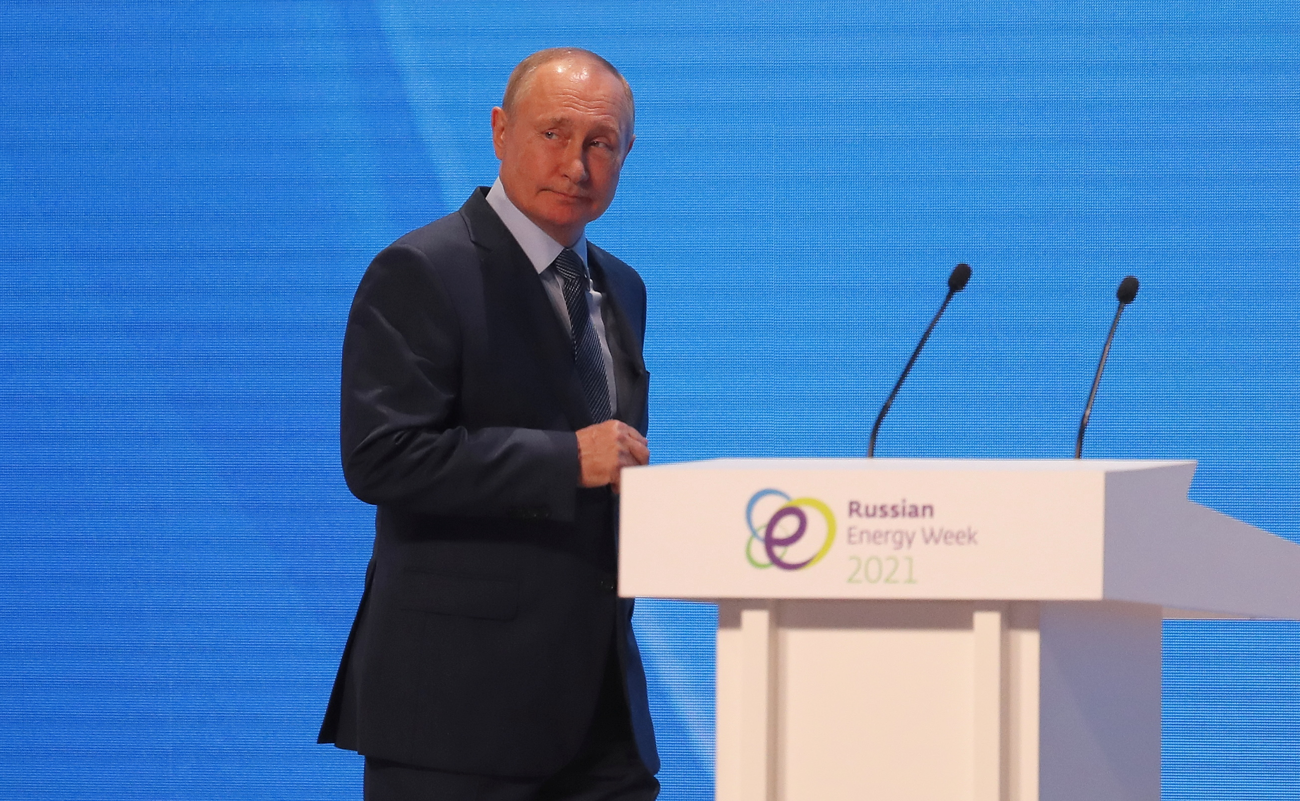 Russian President Vladimir Putin attends a plenary session of the Russian Energy Week International Forum in Moscow, Russia October 13, 2021. Sergei Ilnitsky/Pool via REUTERS