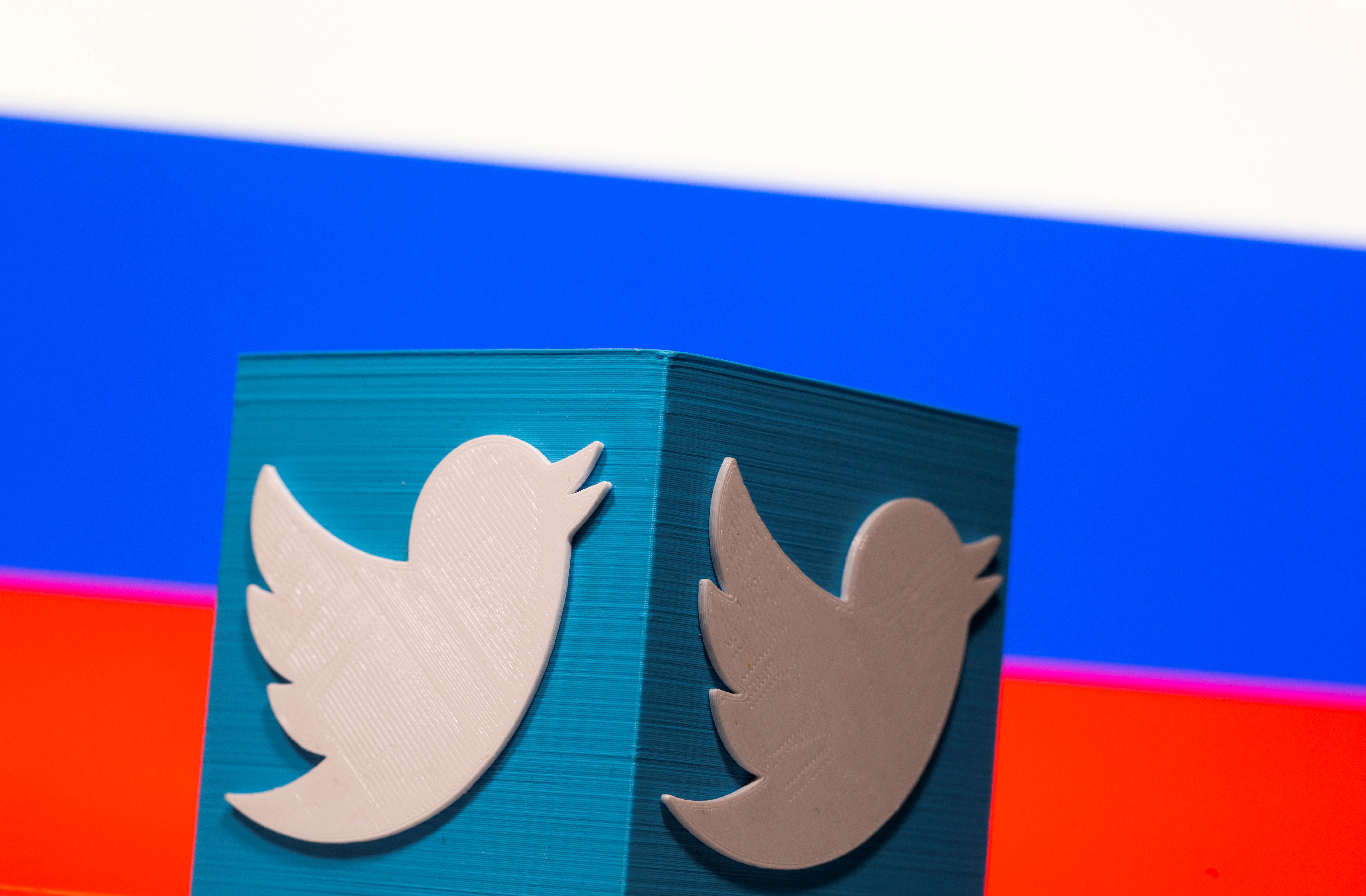A 3D-printed Twitter logo is pictured in front of a displayed Russian flag in this illustration taken March 10, 2021. REUTERS/Dado Ruvic/Illustration