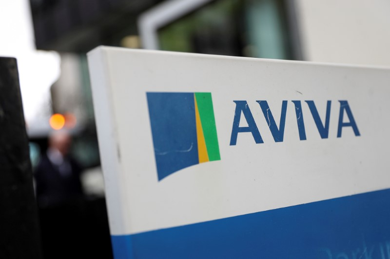 The Aviva logo sits outside the company head office in the city of London, Britain March 7, 2019. REUTERS/Simon Dawson/File Photo