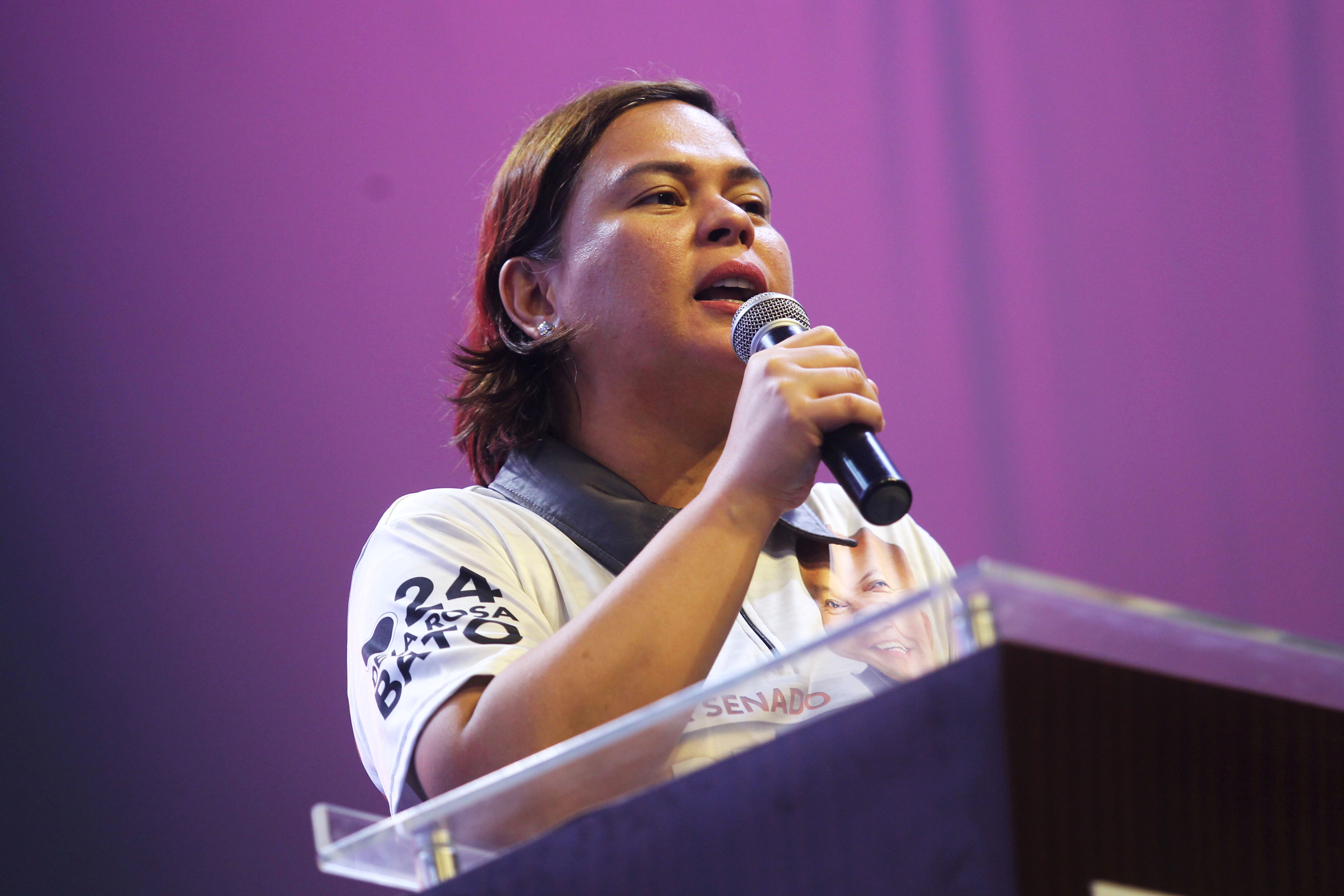 Sara Duterte, Davao City Mayor and daughter of Philippine President Rodrigo Duterte, delivers a speech during a senatorial campaign caravan for Hugpong Ng Pagbabago (HNP) in Davao City, southern Philippines on May 9, 2019. HNP is a regional political party chaired by Sara Duterte. Picture taken May 9, 2019 . REUTERS/Lean Daval Jr/File Photo