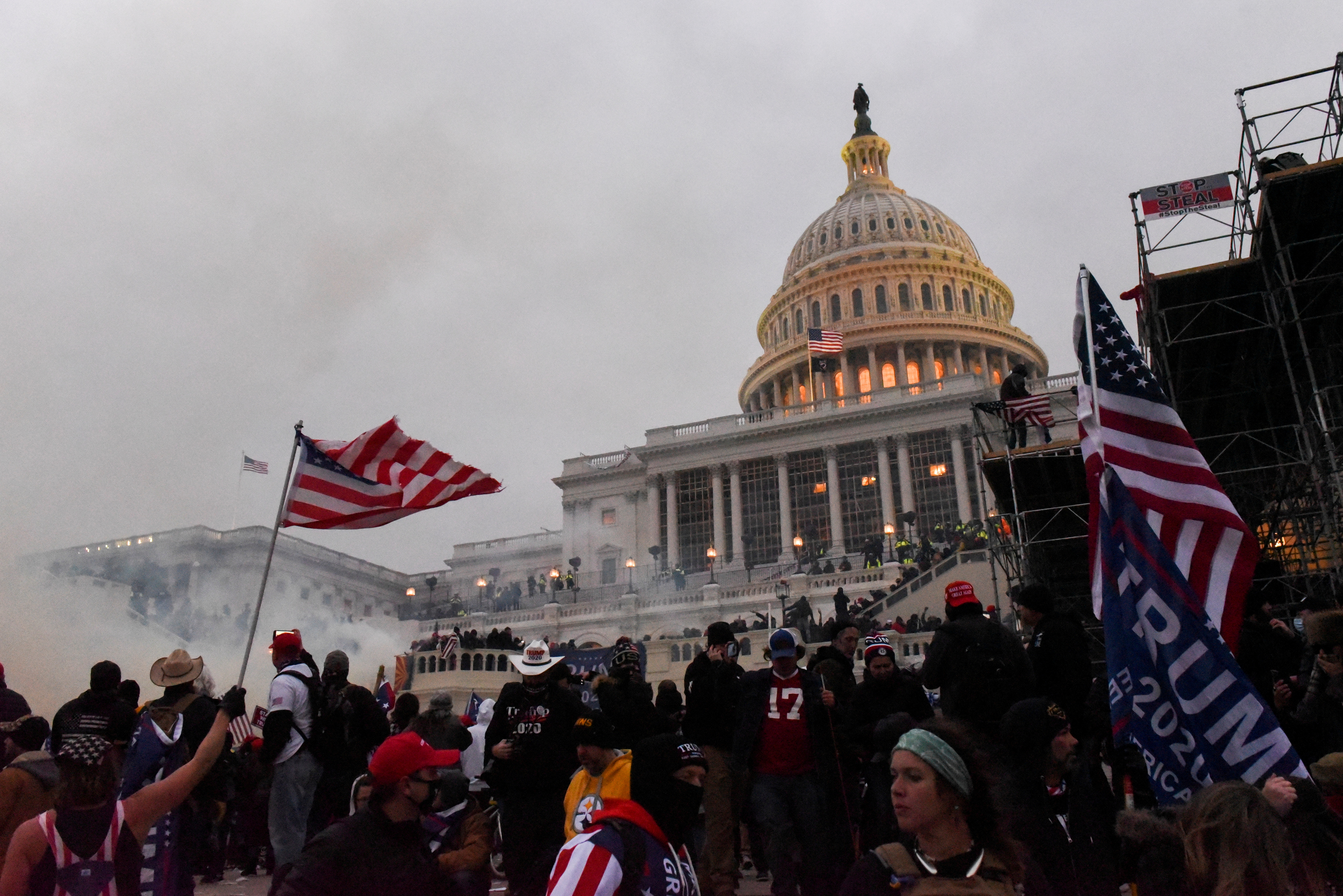 Police attempt to clear the U.S. Capitol Building with tear gas as supporters of U.S. President Donald Trump gather outside, in Washington, U.S. January 6, 2021. REUTERS/Stephanie Keith/File Photo