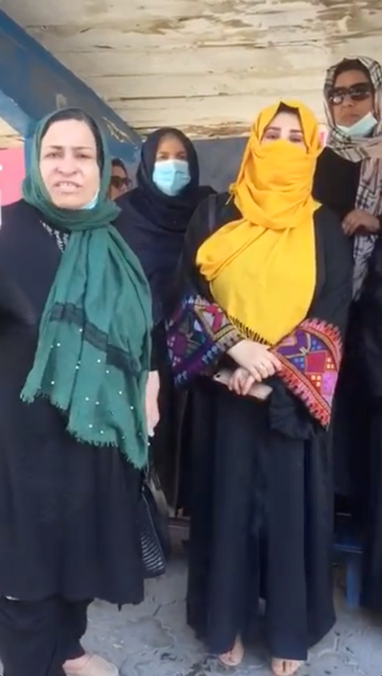 A group of women gather for a protest in Kabul, Afghanistan, September 16, 2021 in this screengrab obtained from a social media video. Video taken September 16, 2021. ZAKIA KAWYAN/via REUTERS