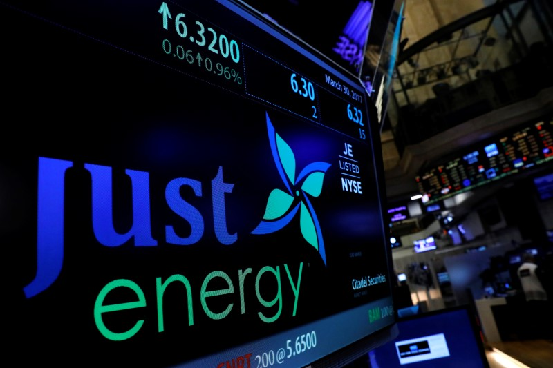 The company logo for Just Energy Group Inc. is displayed on a screen on the floor of the New York Stock Exchange (NYSE) in New York, U.S. REUTERS/Brendan McDermid