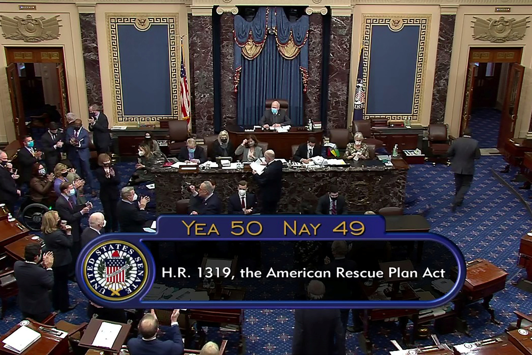 The U.S. Senate passes President Joe Biden's $1.9 trillion COVID-19 relief plan in a party-line vote in Washington, U.S. March 6, 2021 in this still image taken from a video.   Senate TV/REUTERS TV