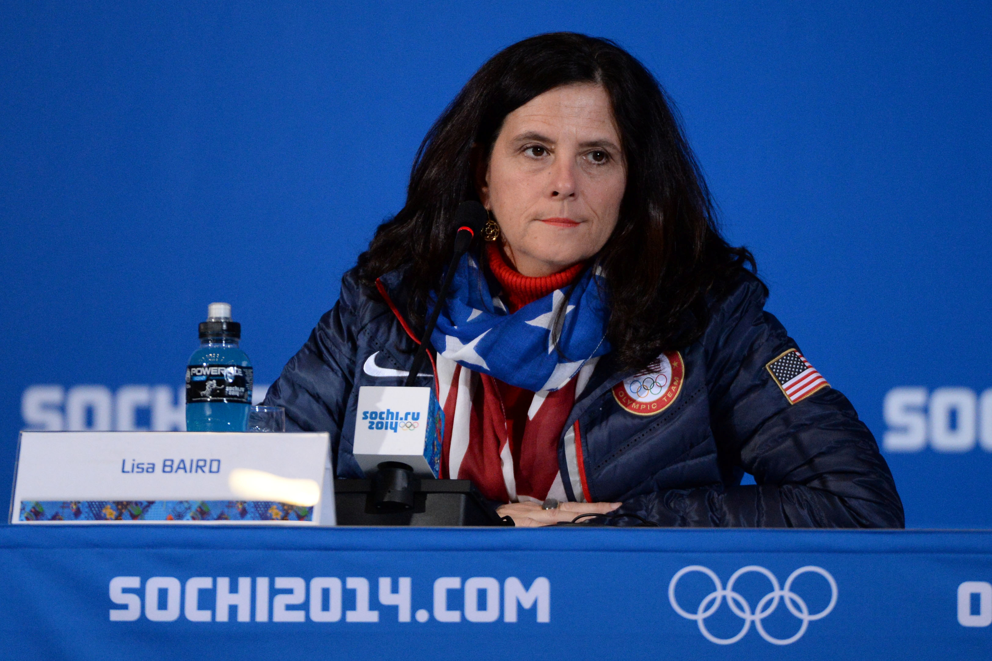 United States Olympic Committee (USOC) chief marketing officer Lisa Baird addresses the media in a USOC leadership news conference during the Sochi 2014 Olympic Winter Games at Main Press Center-Pushkin Hall in Sochi, Russia February 6, 2014. . Kyle Terada-USA TODAY Sports via REUTERS