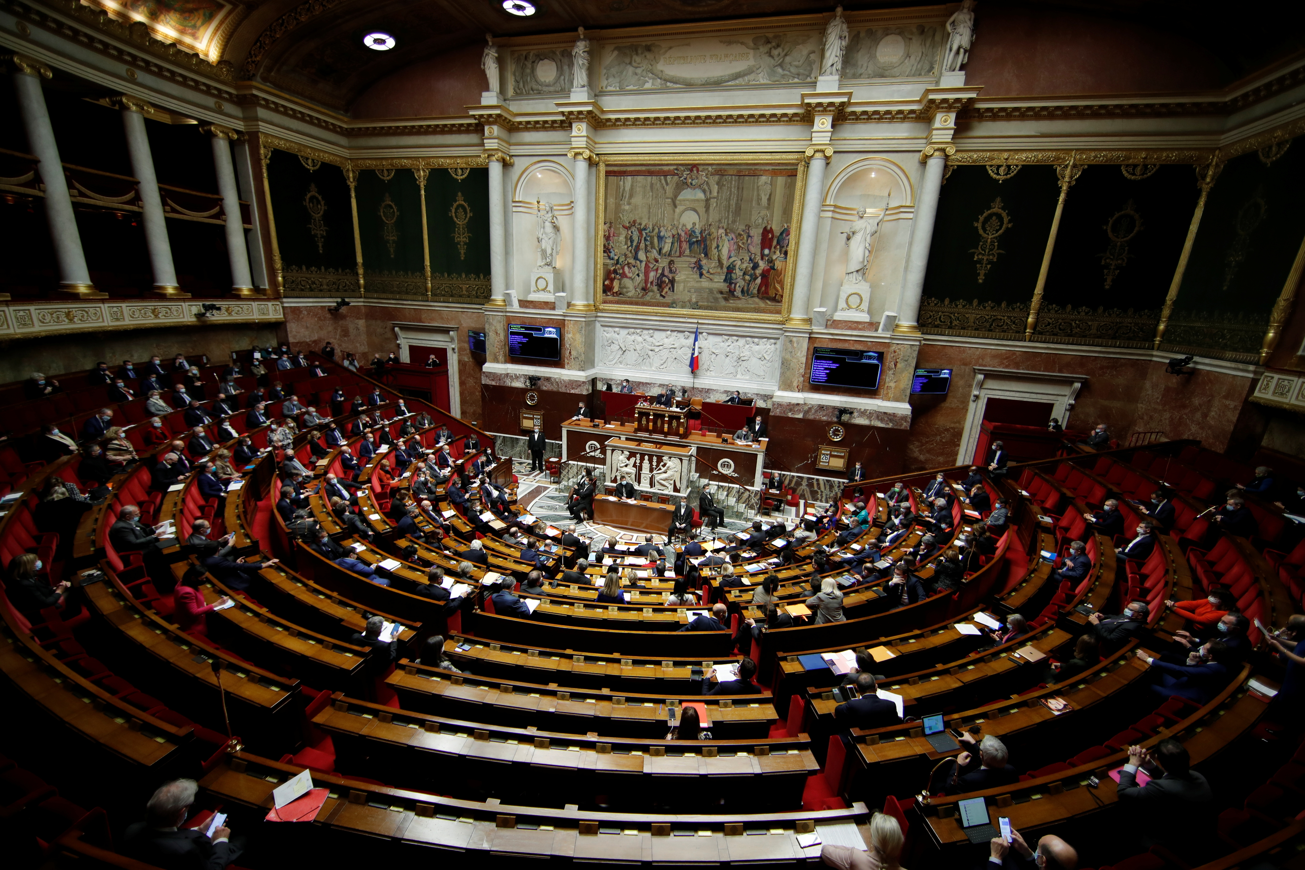 A general view shows the hemicycle during the questions to the government session at the National Assembly in Paris amid the coronavirus disease (COVID-19) outbreak in France, January 26, 2021.  REUTERS/Gonzalo Fuentes