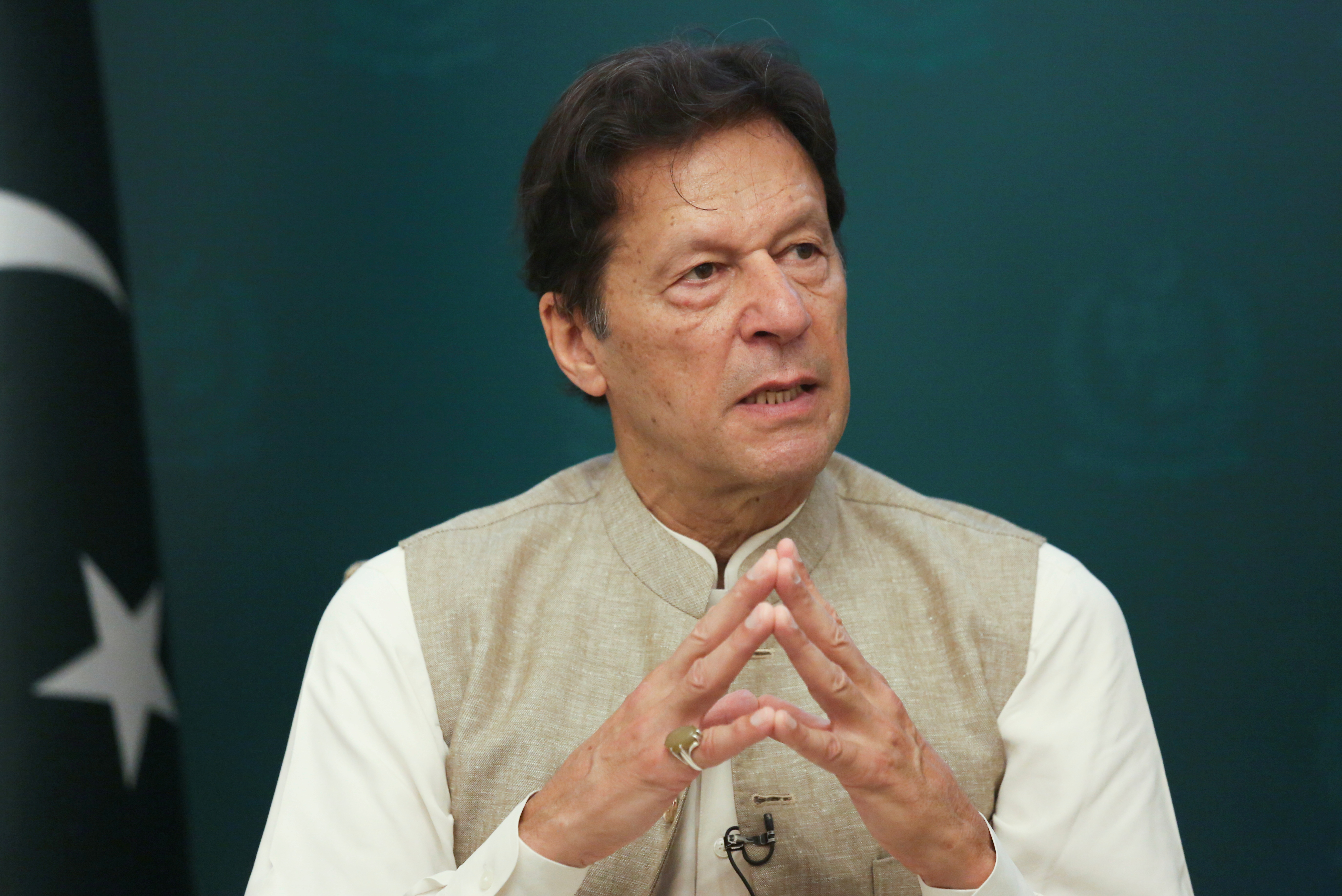 Pakistan's Prime Minister Imran Khan speaks during an interview with Reuters in Islamabad, Pakistan June 4, 2021. REUTERS/Saiyna Bashir/File Photo