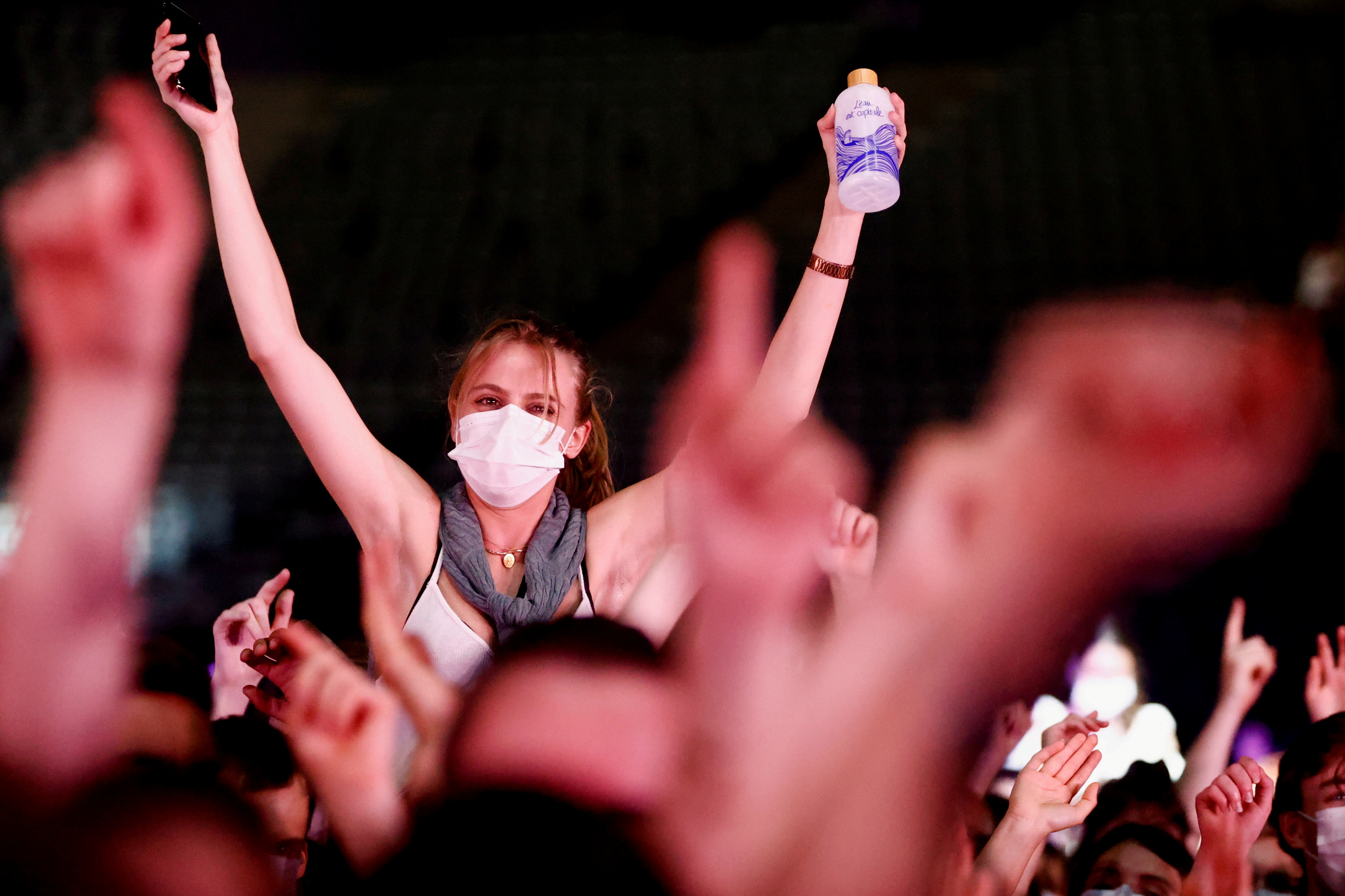 People attend the massive experimental concert