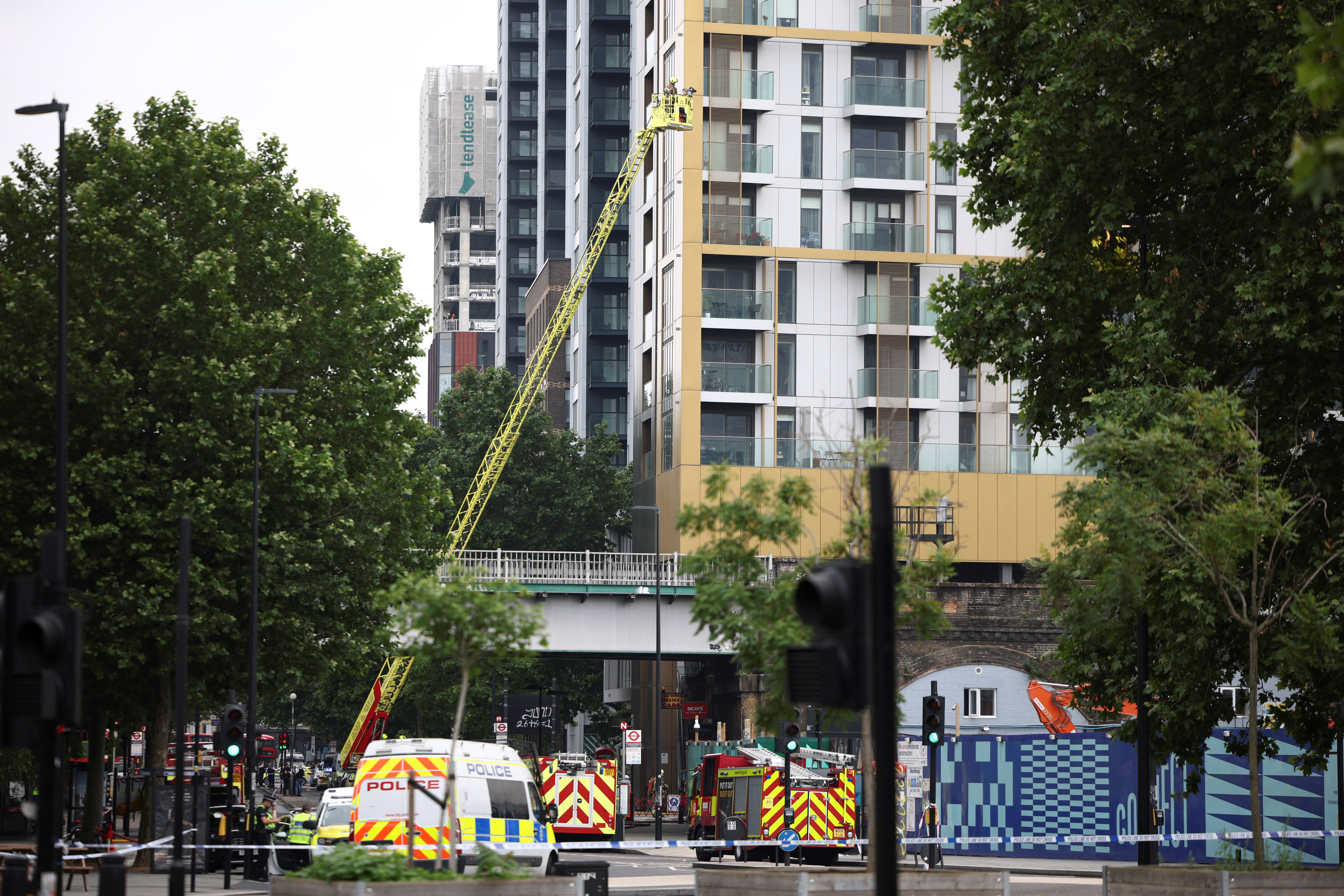 Emergency crews attend to a scene of fire near the Elephant and Castle train station in London, Britain June 28, 2021. REUTERS/Henry Nicholls