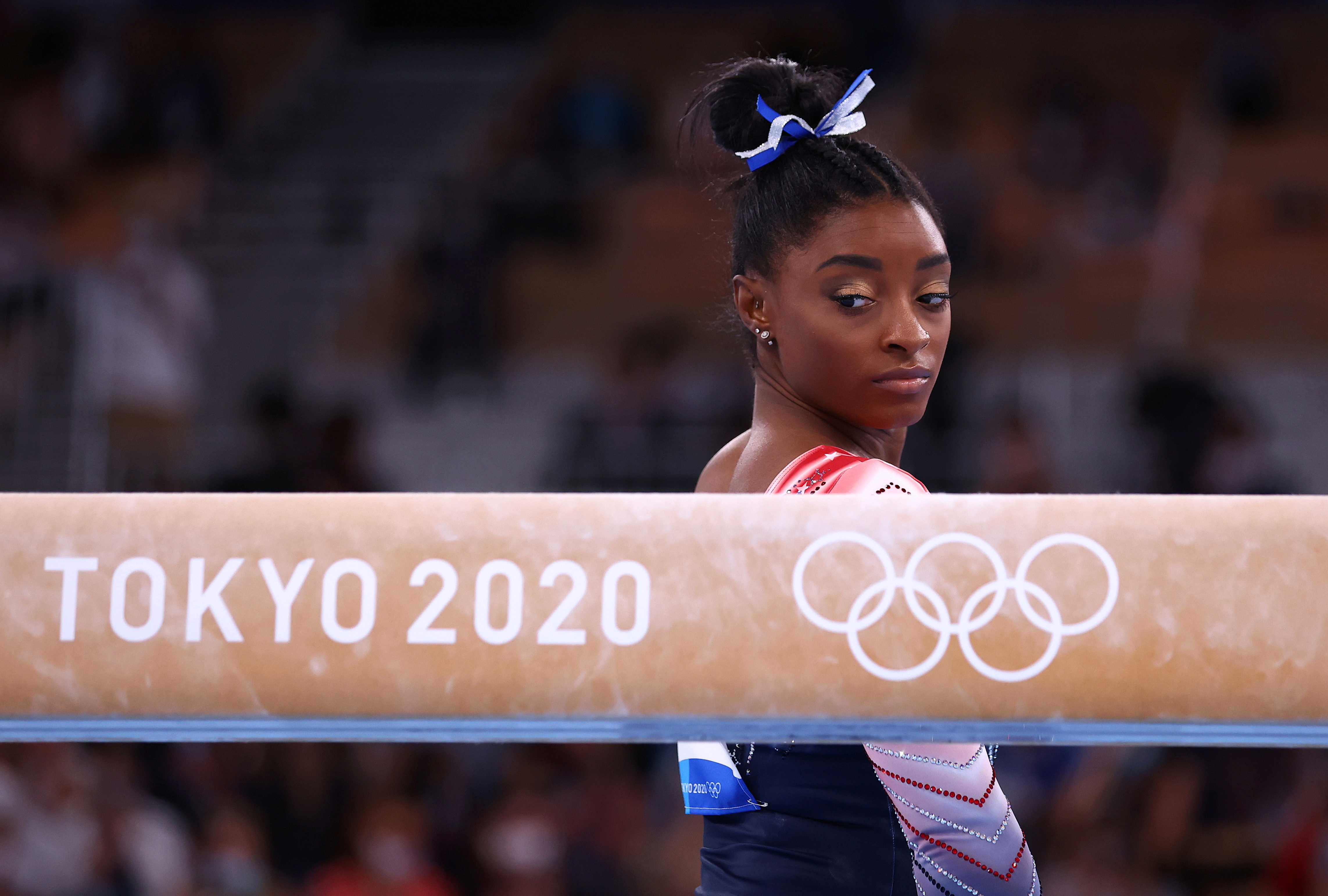 Simone Biles of the United States before competing REUTERS/Mike Blake