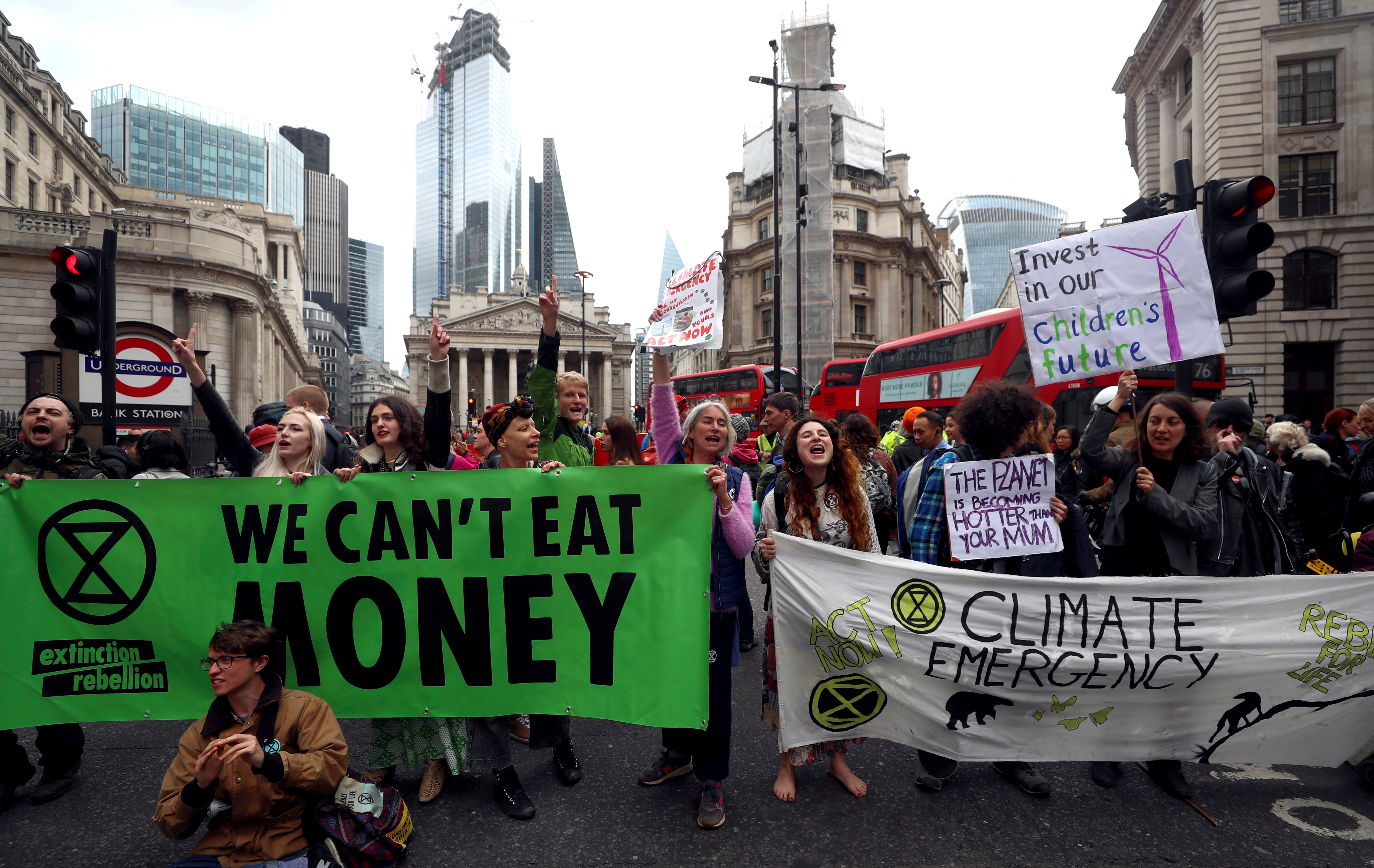 Protesters block traffic at Bank Junction during the Extinction Rebellion protest in London, Britain April 25, 2019. REUTERS/Simon Dawson