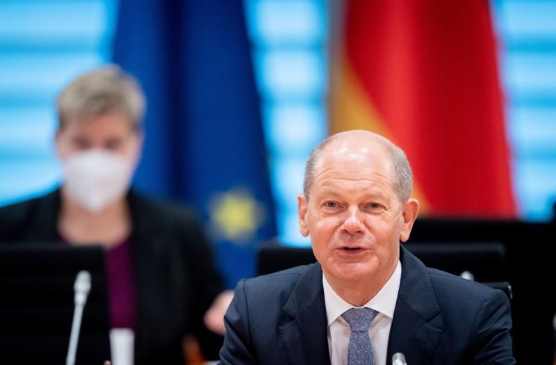 German Finance Minister Olaf Scholz (SPD) speaks during the weekly German cabinet meeting at the Chancellery in Berlin, Germany, August 4, 2021. Kay Nietfeld/Pool via REUTERS