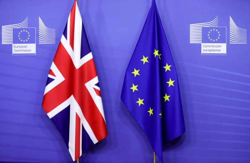 British and European Union flags are seen ahead of a meeting of European Commission President Ursula von der Leyen and British Prime Minister Boris Johnson, in Brussels, Belgium December 9, 2020. Olivier Hoslet/Pool via REUTERS/File Photo