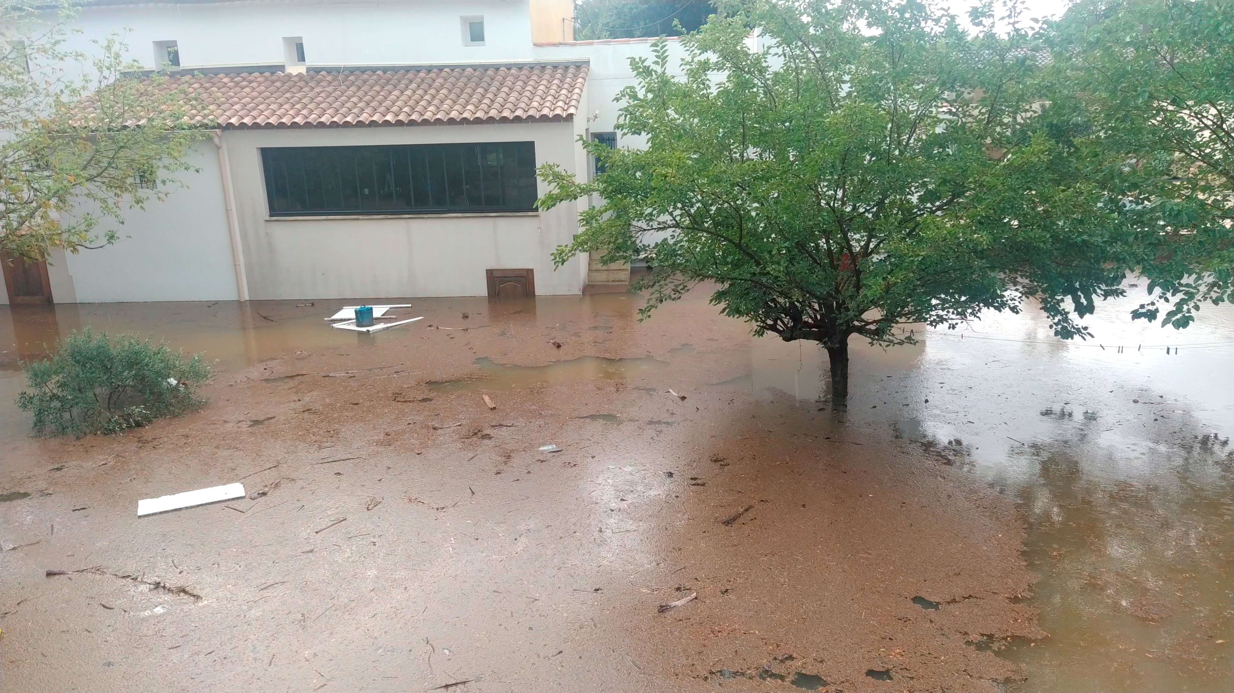 A tree stands amongst flood waters in Aigues-Vives, Gard, France September 14, 2021, in this screen grab obtained from a social media video. @STAWIXBLINK/via REUTERS