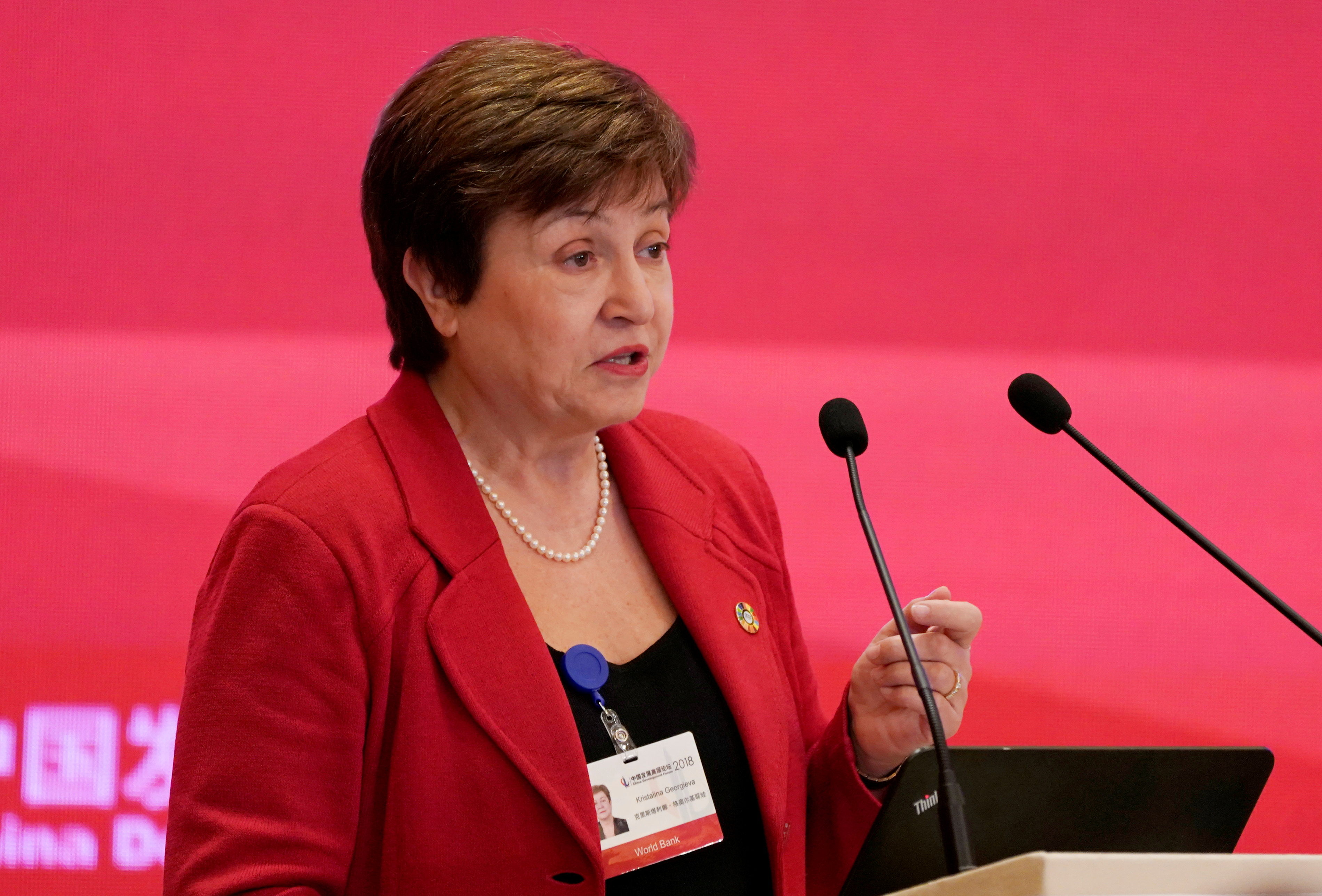 World Bank Chief Executive Officer Kristalina Georgieva speaks at the annual session of China Development Forum (CDF) 2018 at the Diaoyutai State Guesthouse in Beijing, China March 25, 2018. REUTERS/Jason Lee