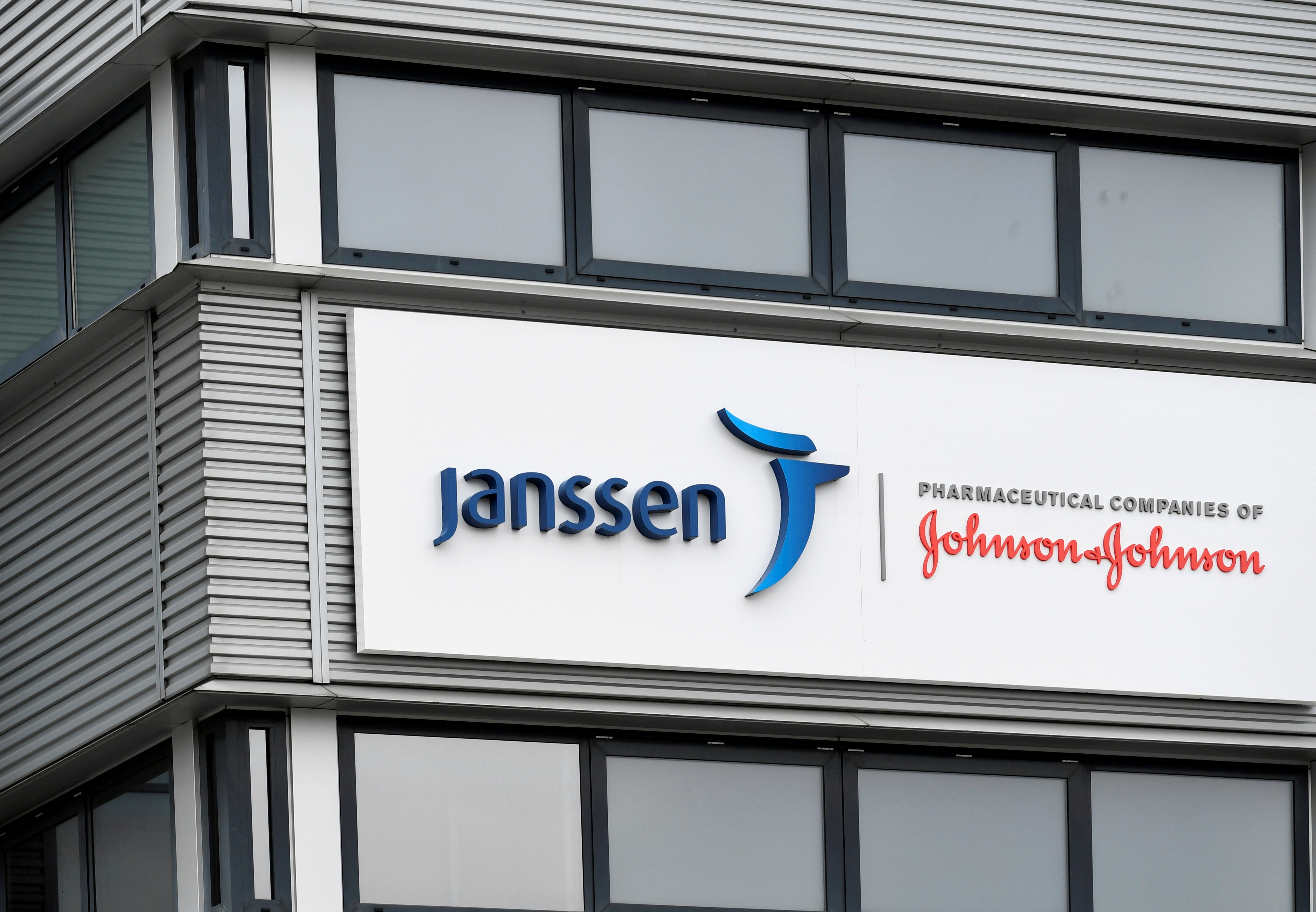 The exterior of Johnson and Johnson's subsidiary Janssen Vaccines in Leiden, Netherlands March 9, 2021. REUTERS/Piroschka van de Wouw/File Photo