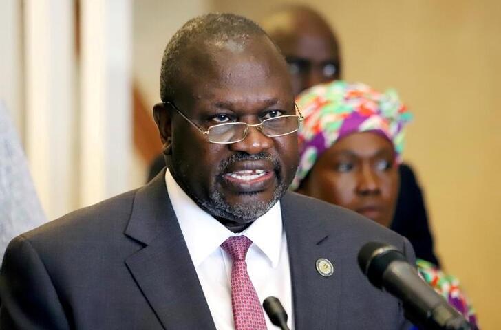 South Sudan's Vice President Riek Machar addresses a news conference in Juba, South Sudan April 5, 2020. REUTERS/Samir Bol//File Photo