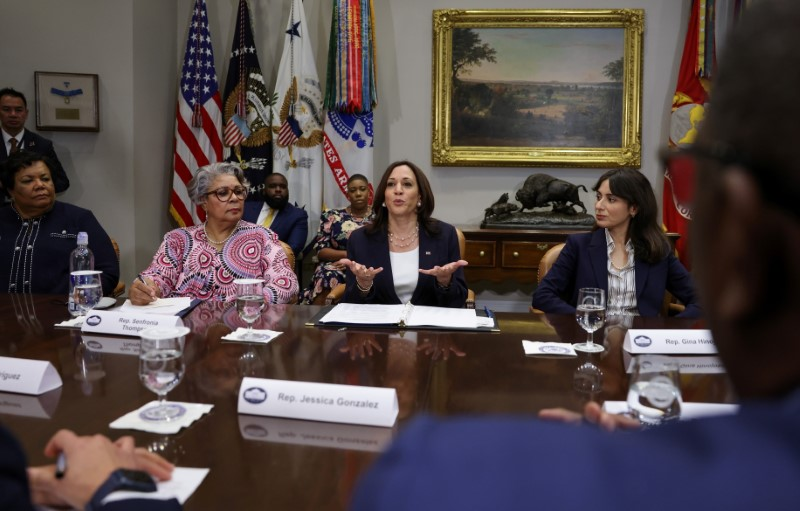 U.S. Vice President Kamala Harris hosts members of Texas State Senate and Texas House of Representatives, who in May blocked passage of legislation that would have made it significantly harder for the people of Texas to vote, at the White House in Washington, U.S., June 16, 2021. REUTERS/Evelyn Hockstein