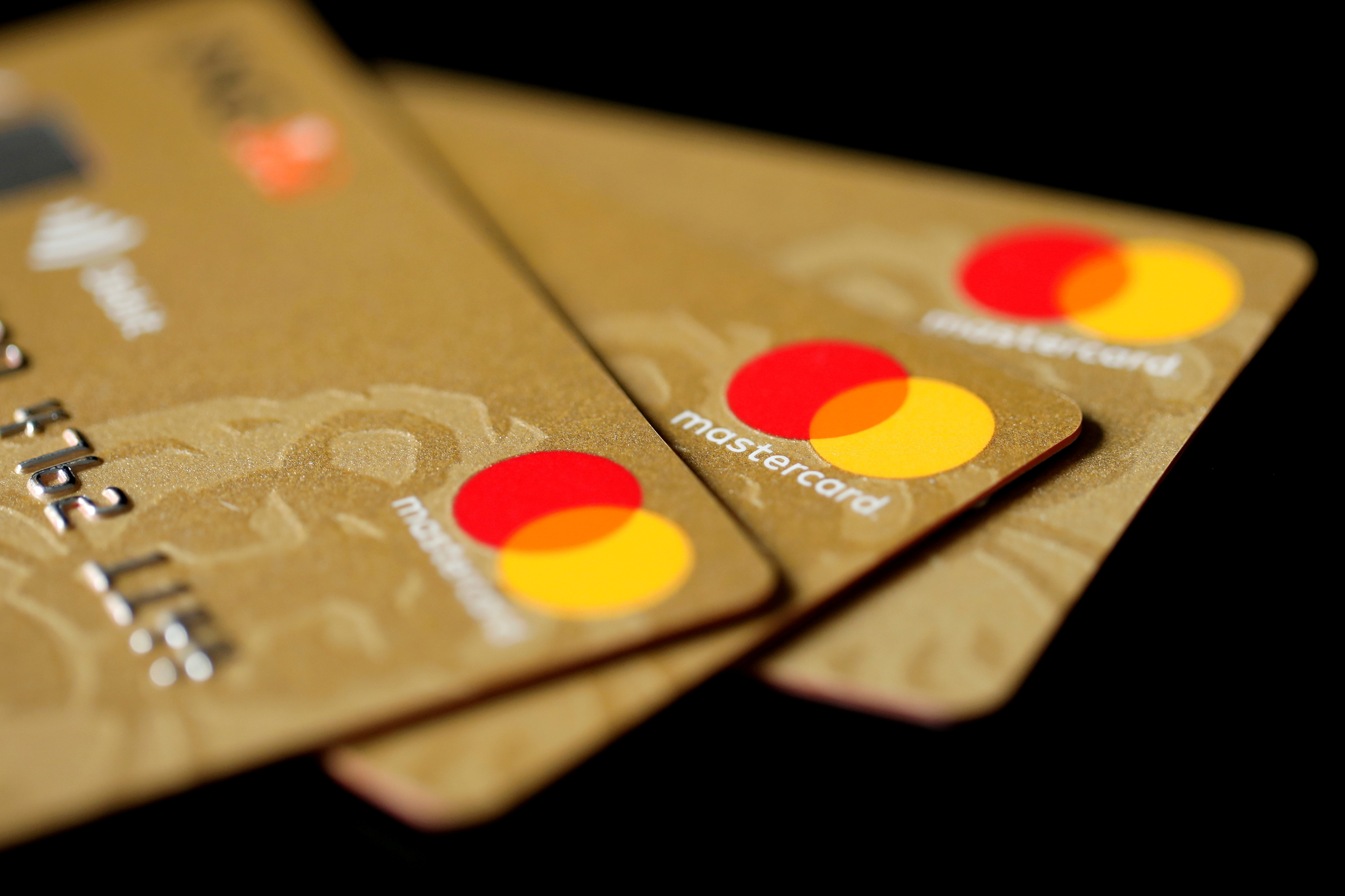 Mastercard Inc. credit cards are displayed in this picture illustration taken December 8, 2017. REUTERS/Benoit Tessier/Illustration