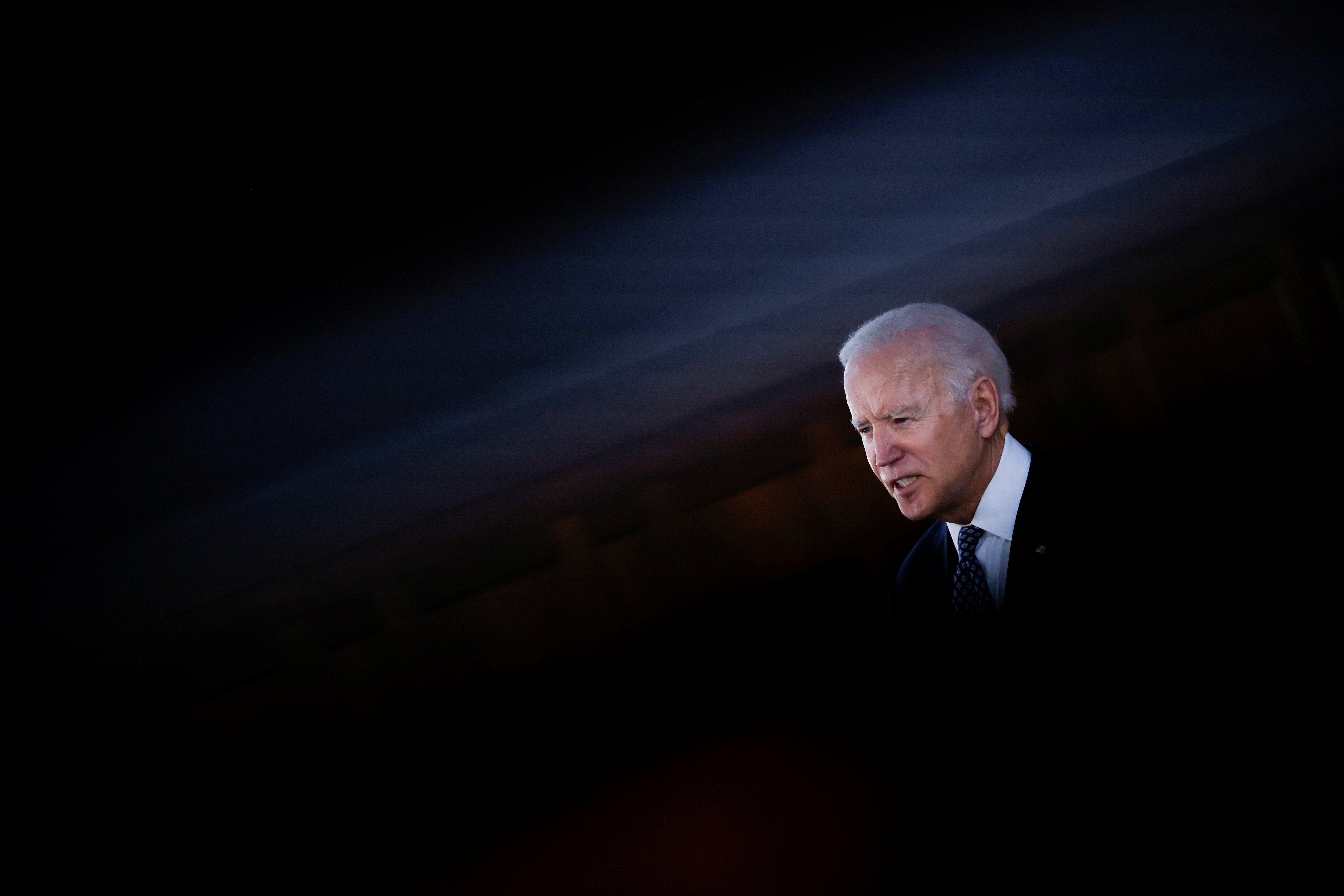 U.S. President Joe Biden delivers remarks after a meeting with Asian-American leaders to discuss
