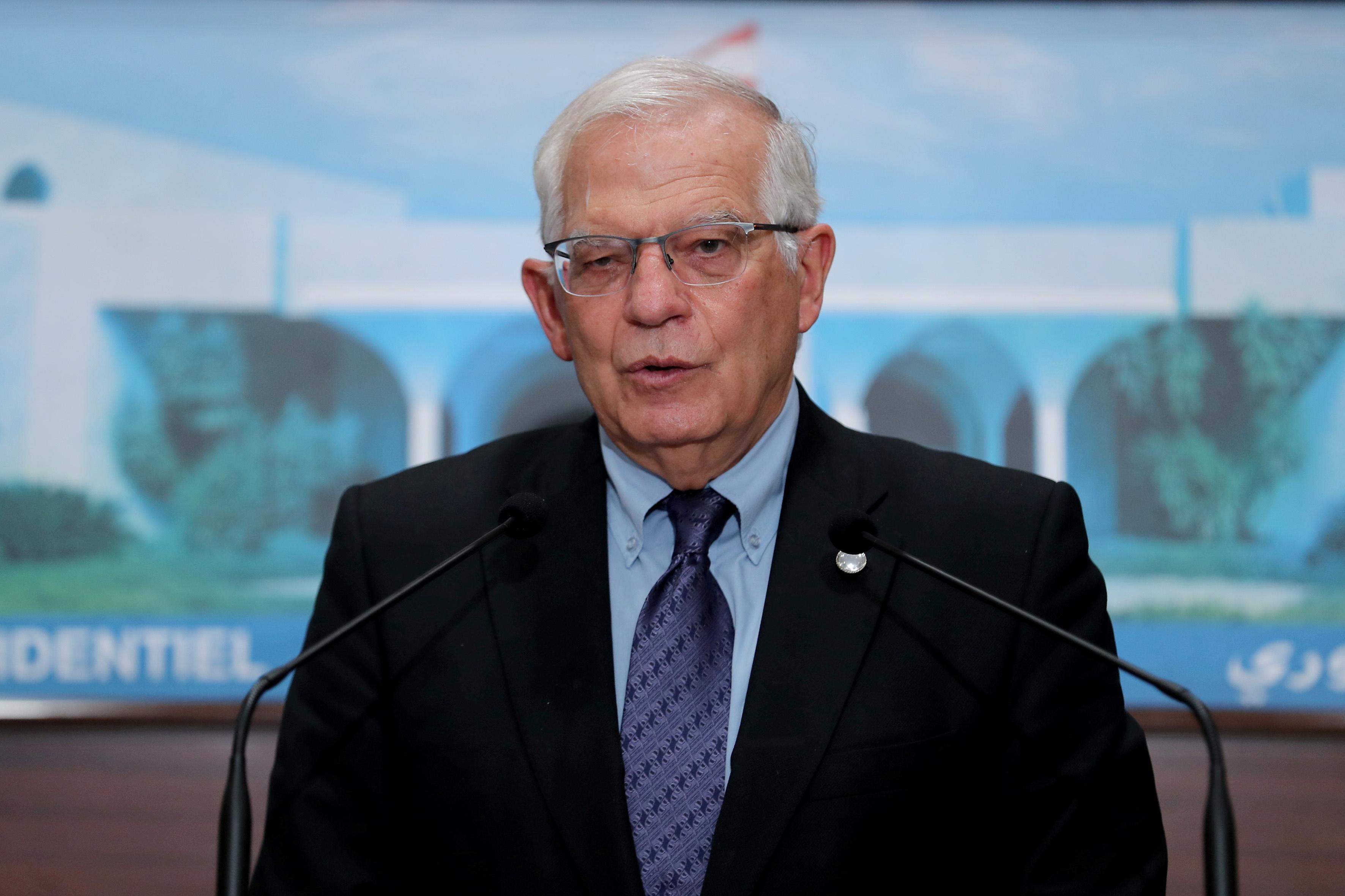 European Union foreign policy chief Josep Borrell speaks at the presidential palace in Baabda, Lebanon June 19, 2021. Dalati Nohra/Handout via REUTERS