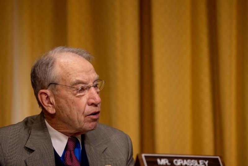 Sen. Chuck Grassley (R-IA)  speaks at the Senate Finance Committee hearing at the US Capitol in Washington, DC, U.S. February 25, 2021. Tasos Katopodis/Pool via REUTERS