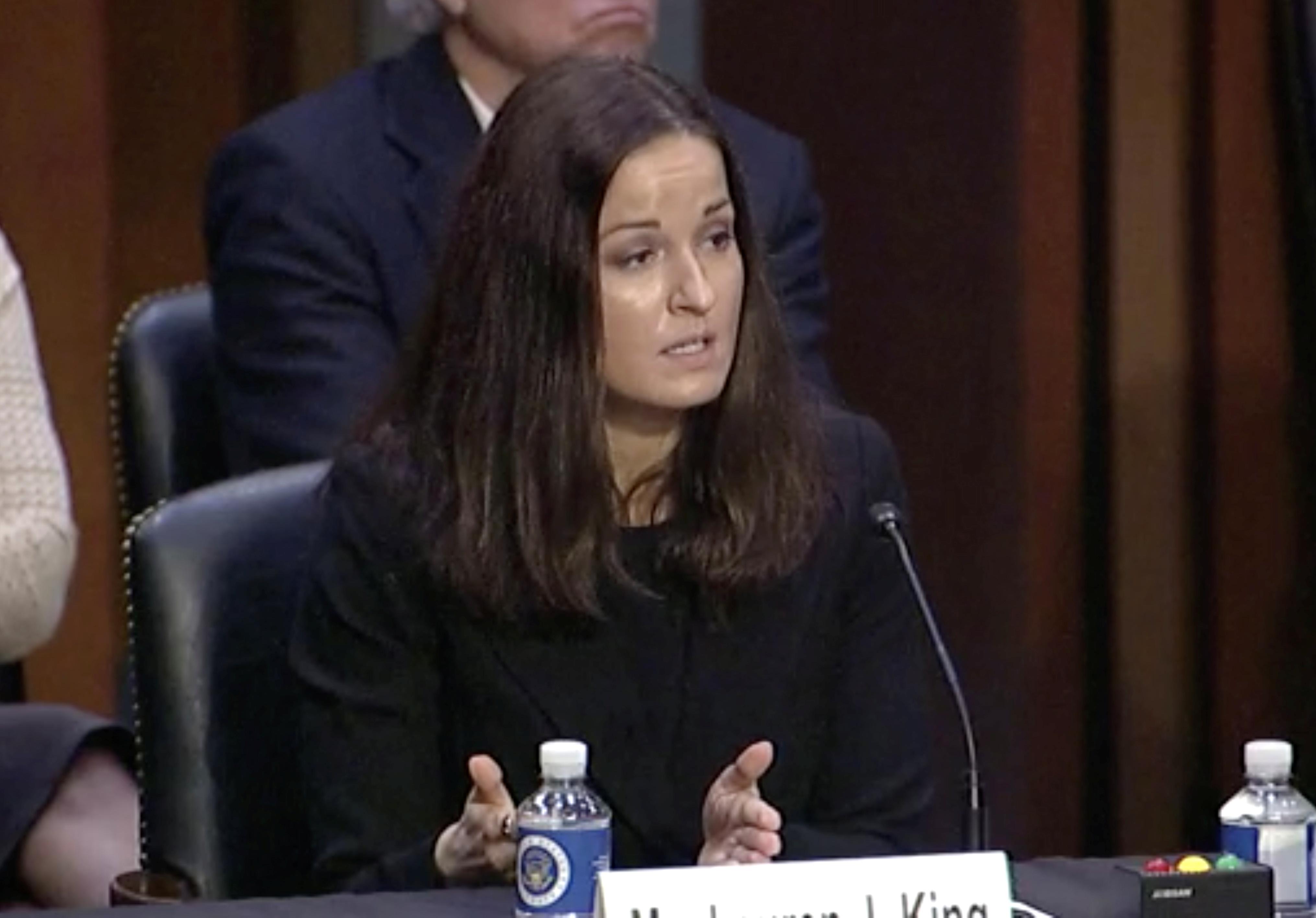 Lauren King testifies before a Senate Judiciary Committee on Capitol Hill in Washington, June 9, 2021. U.S. Senate/Handout via Reuters