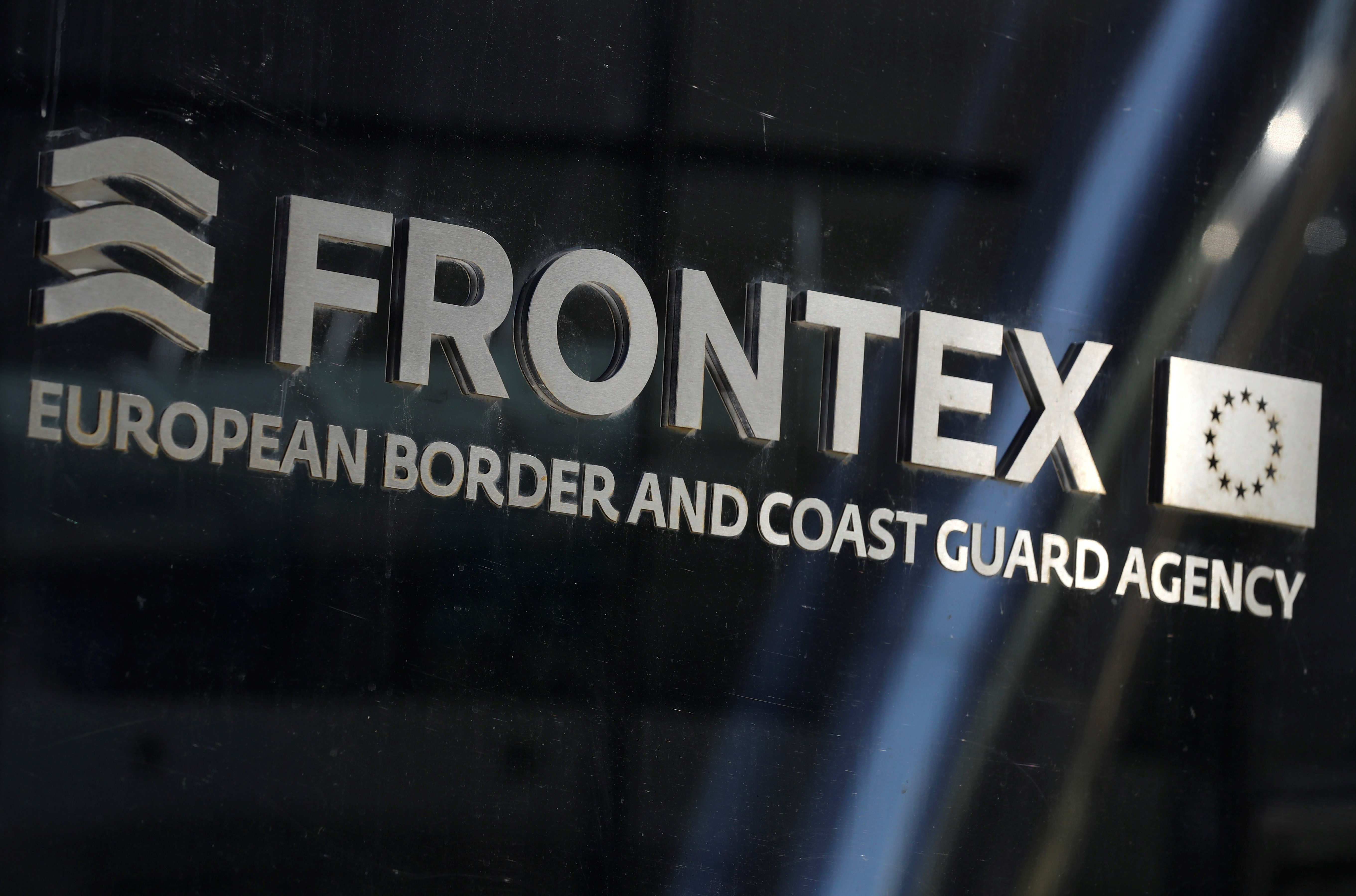 A logo of EU border agency Frontex is seen at the agency's headquarters in Warsaw, Poland September 8, 2021. REUTERS/Kacper Pempel