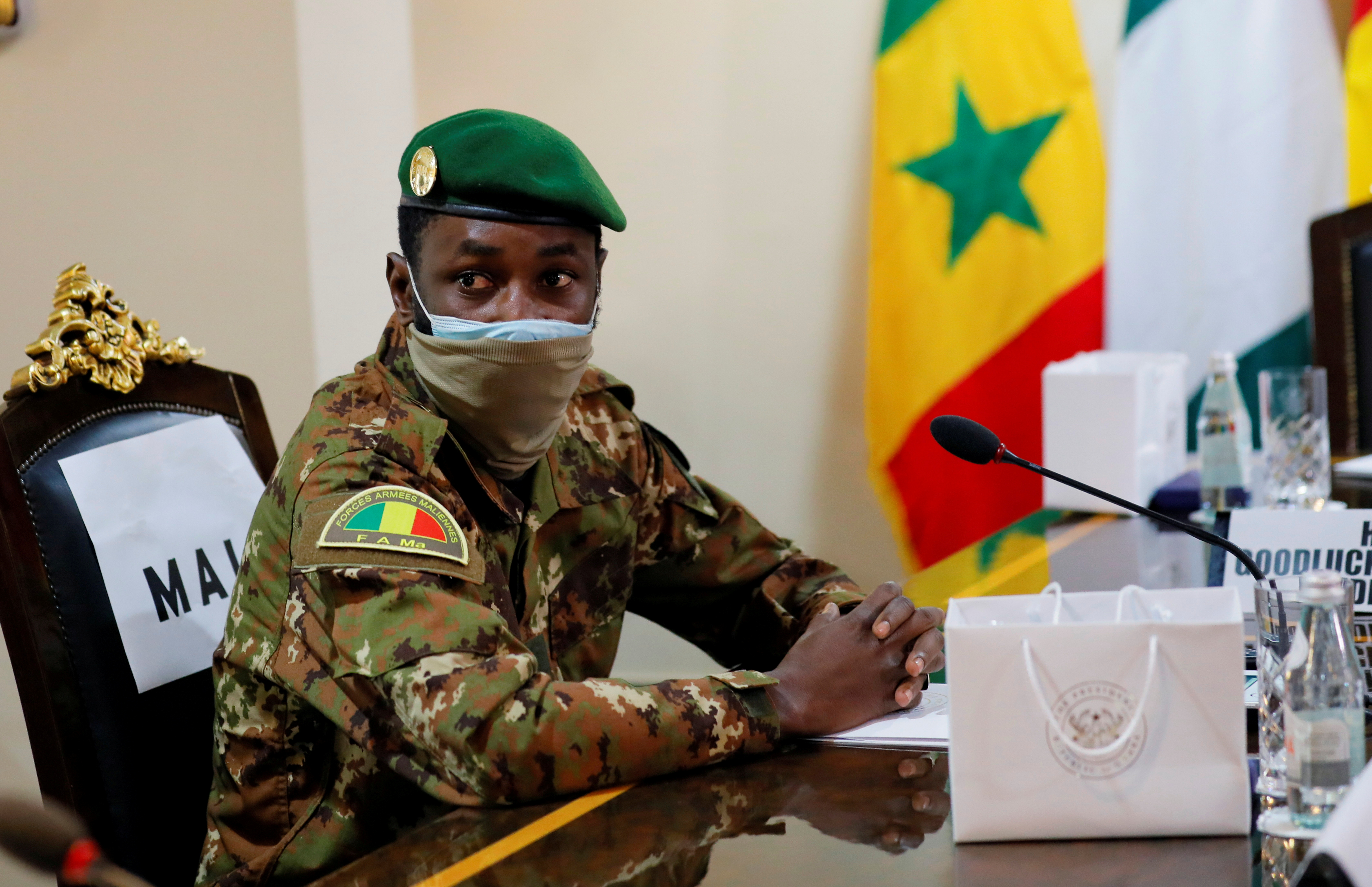 Colonel Assimi Goita, leader of Malian military junta, attends the Economic Community of West African States (ECOWAS) consultative meeting in Accra, Ghana September 15, 2020. REUTERS/ Francis Kokoroko/File Photo